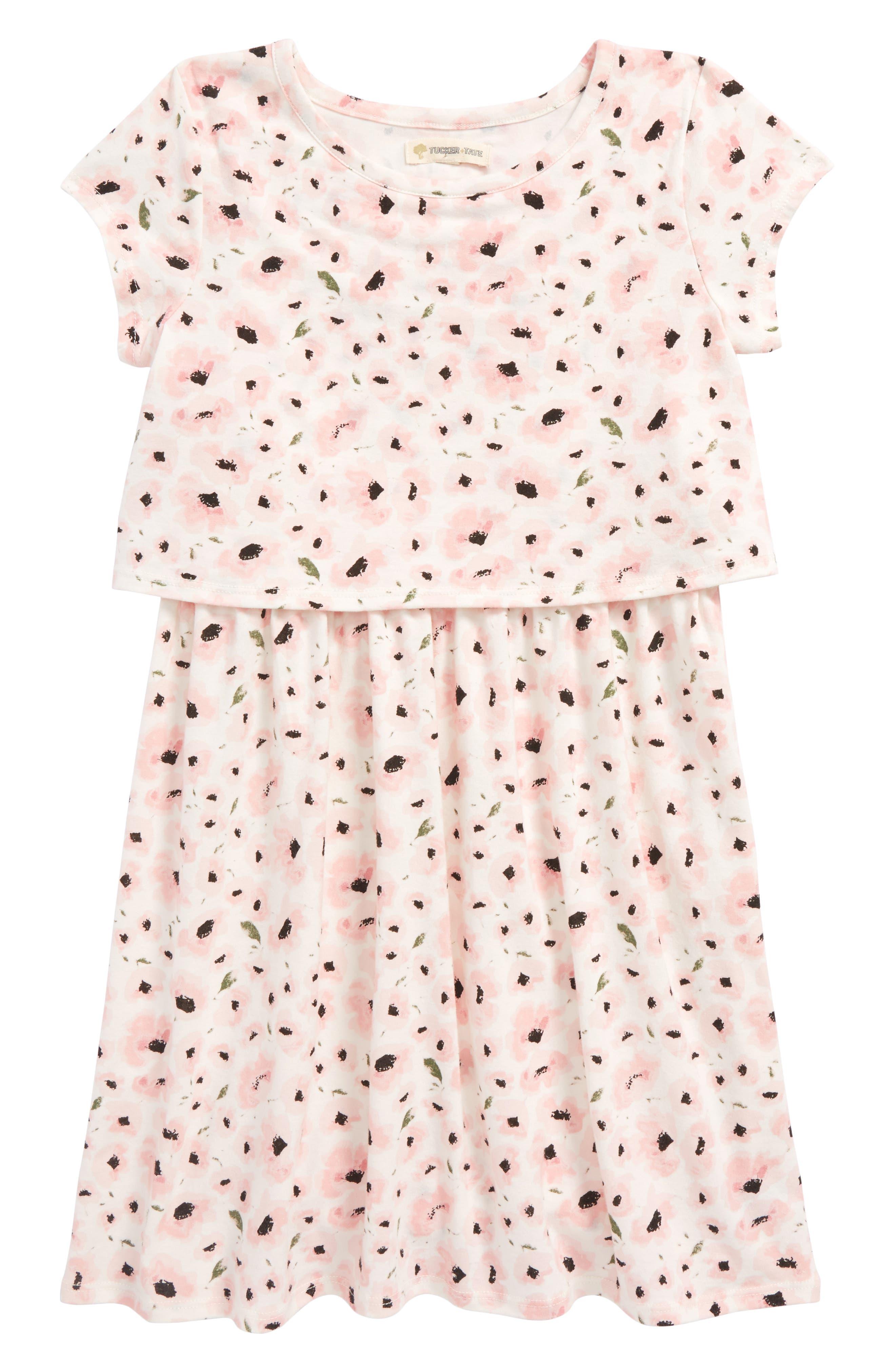 Tucker + Tate Floral Print Popover Dress (Toddler Girls, Little Girls & Big Girls)