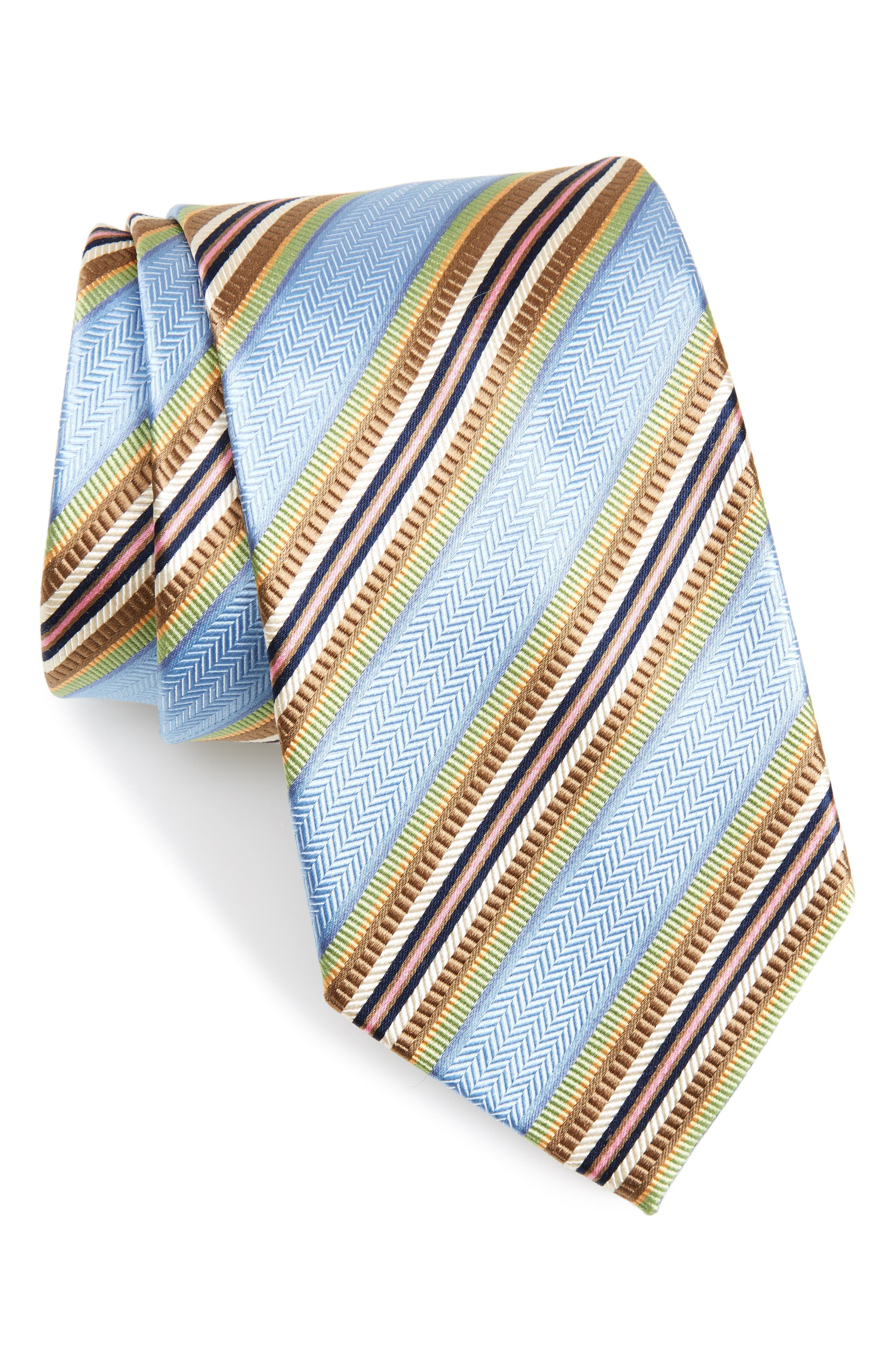Stripe Silk Tie,                             Main thumbnail 1, color,                             Light Blue