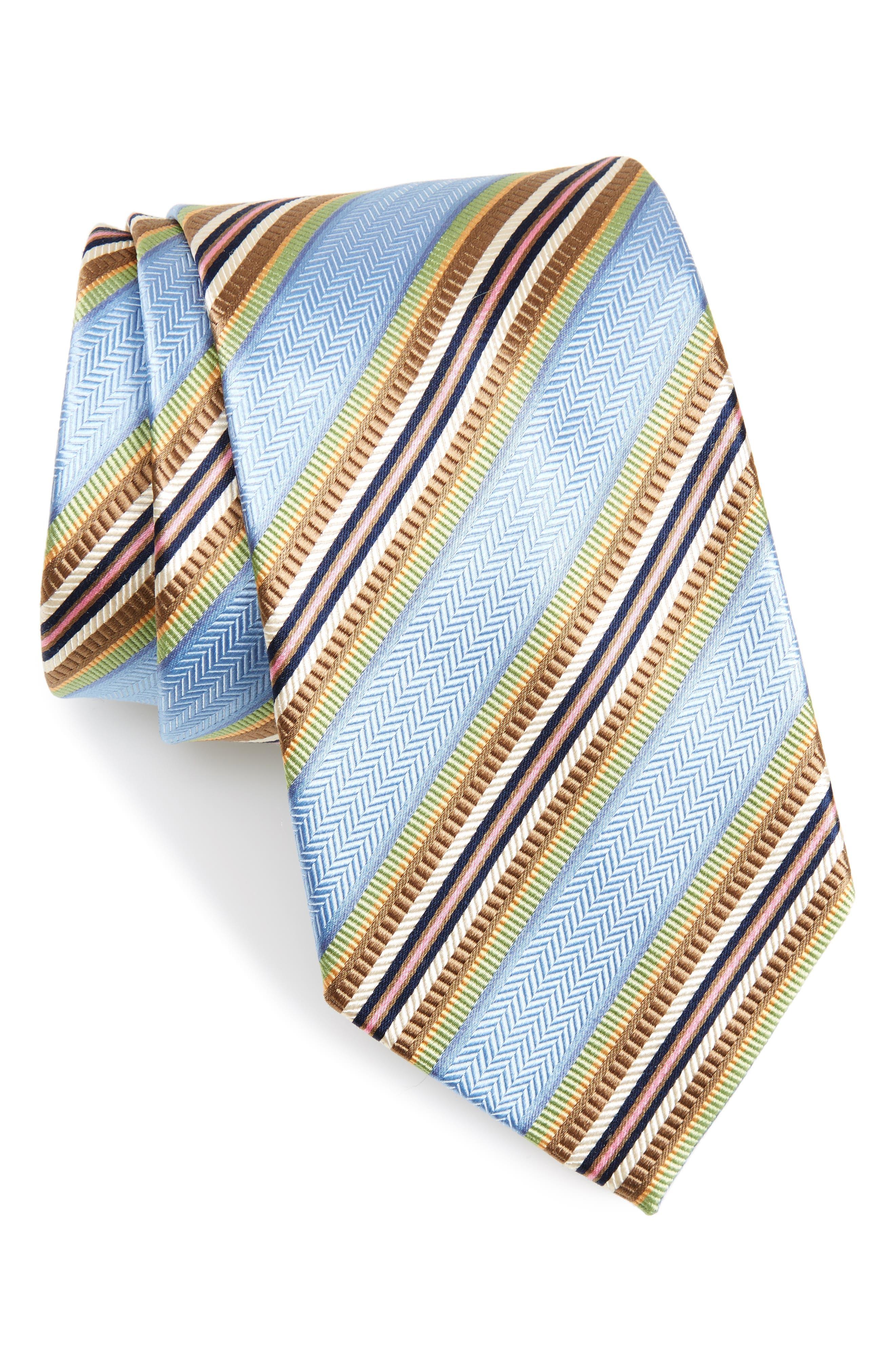 Stripe Silk Tie,                         Main,                         color, Light Blue