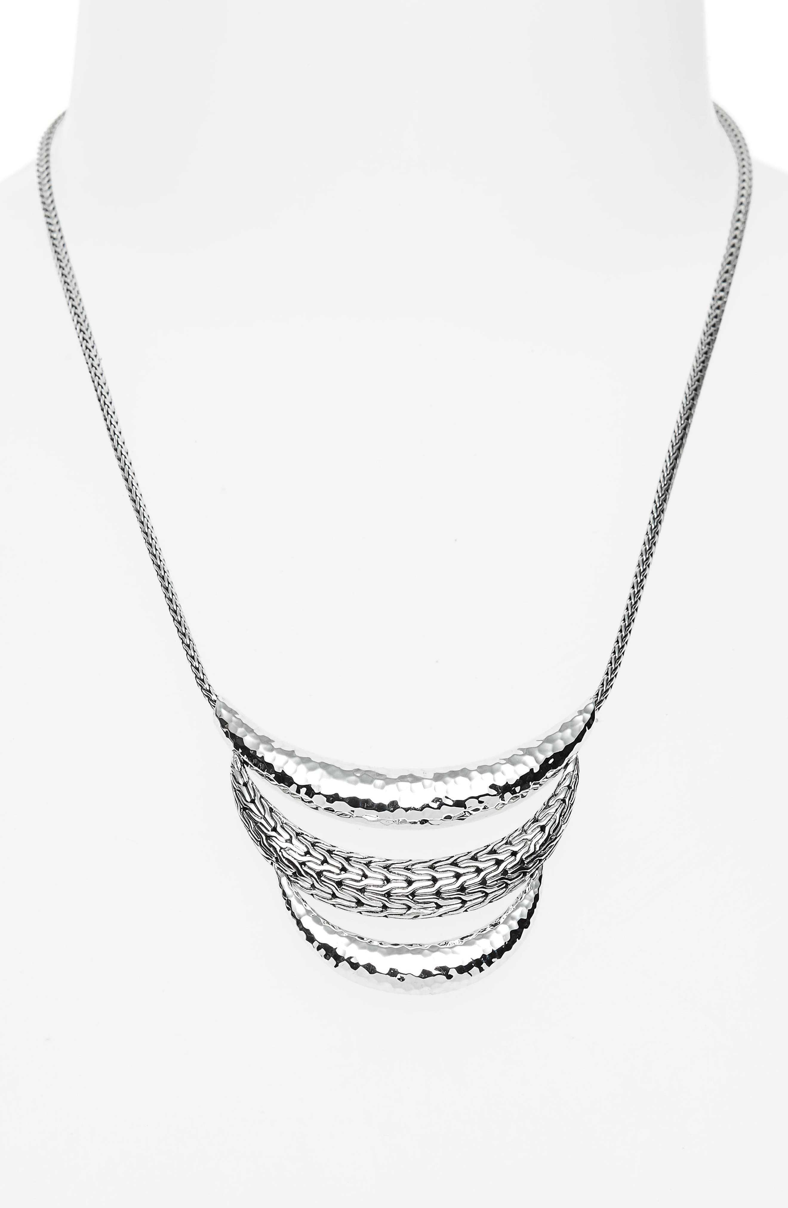 Classic Chain Hammered Silver Necklace,                             Alternate thumbnail 2, color,                             Silver