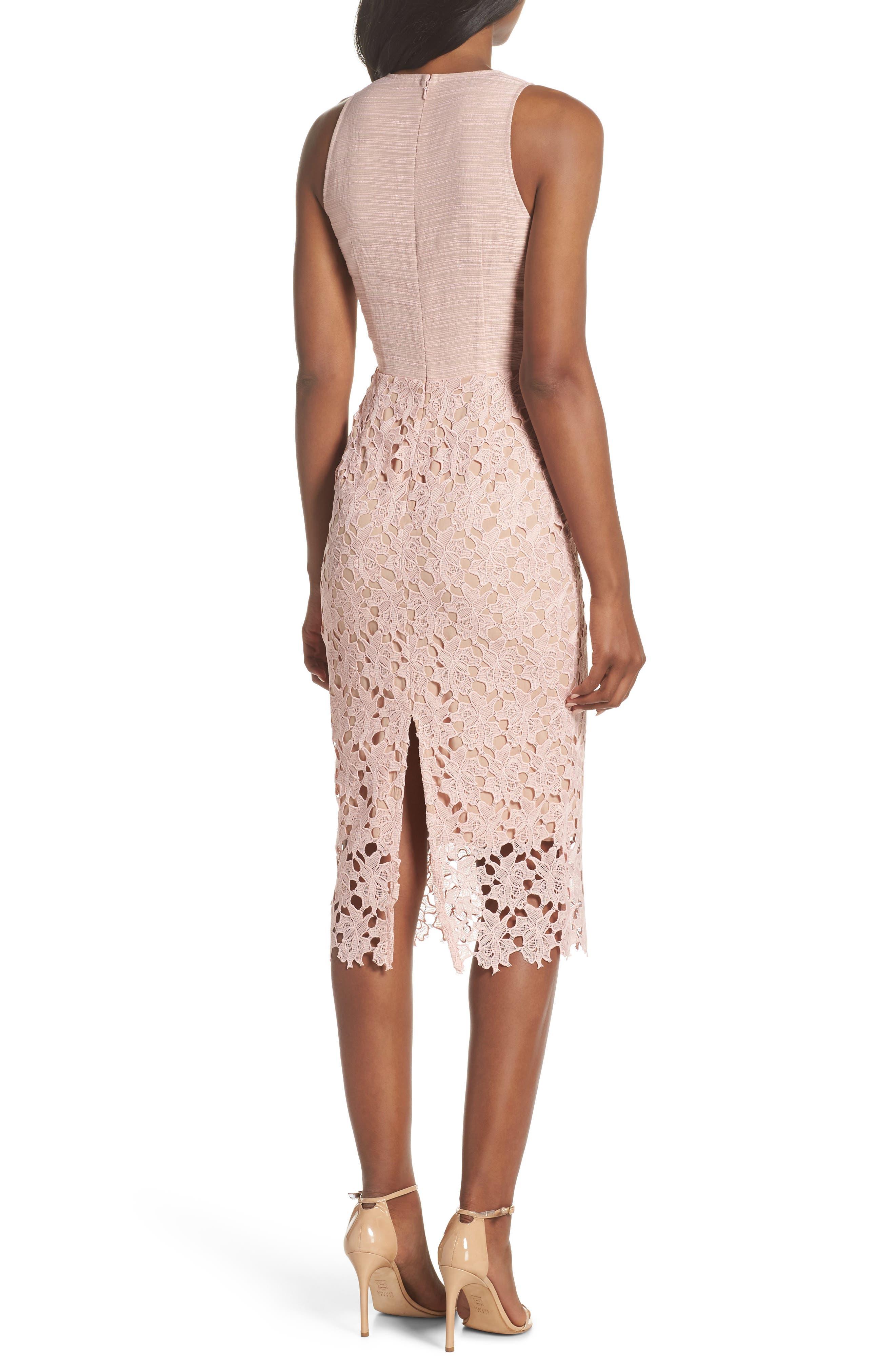 Jessie Lace Pencil Dress,                             Alternate thumbnail 2, color,                             Pink