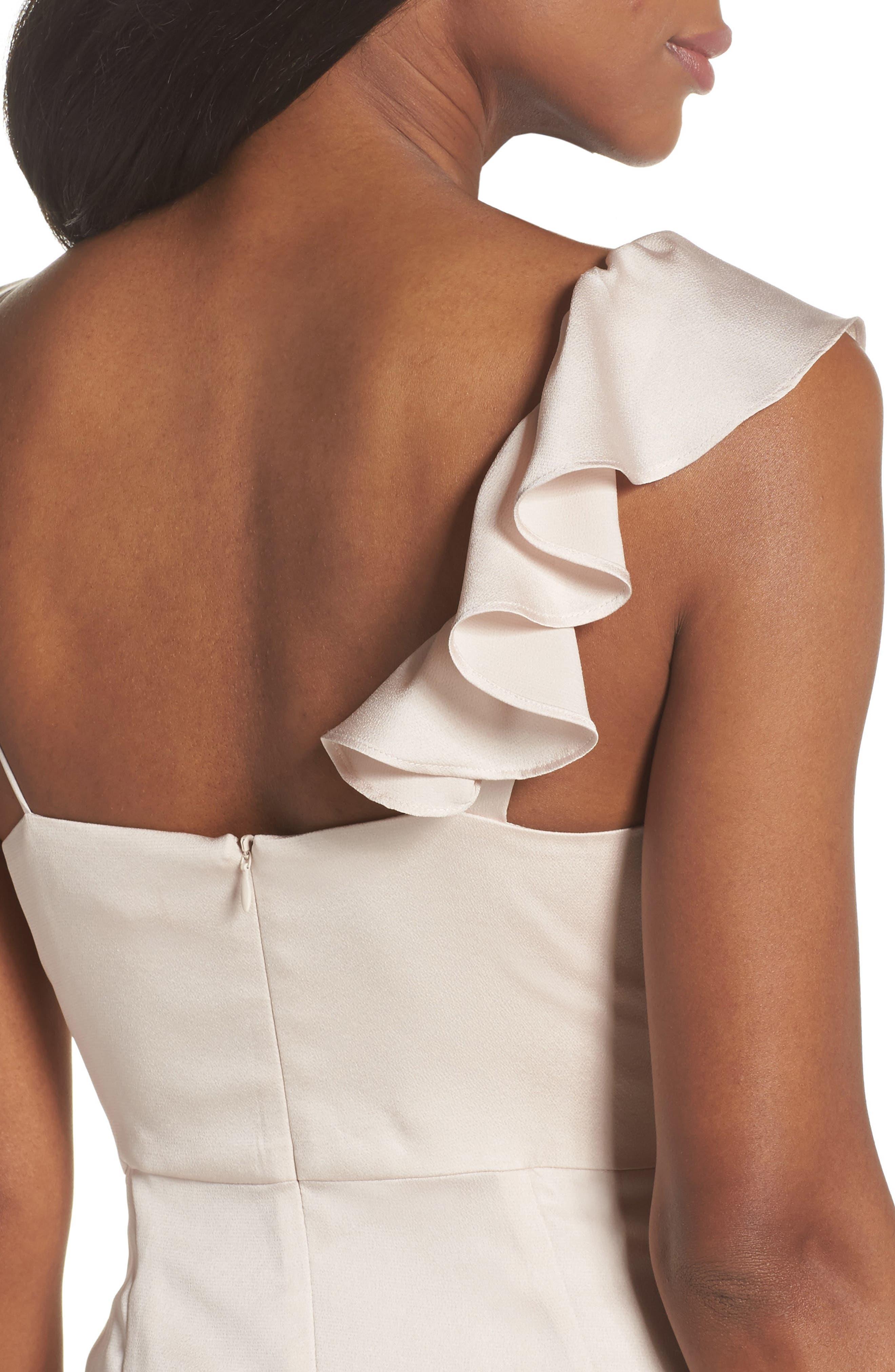 Luxe Asymmetrical Frill Maxi Dress,                             Alternate thumbnail 4, color,                             Porcelain