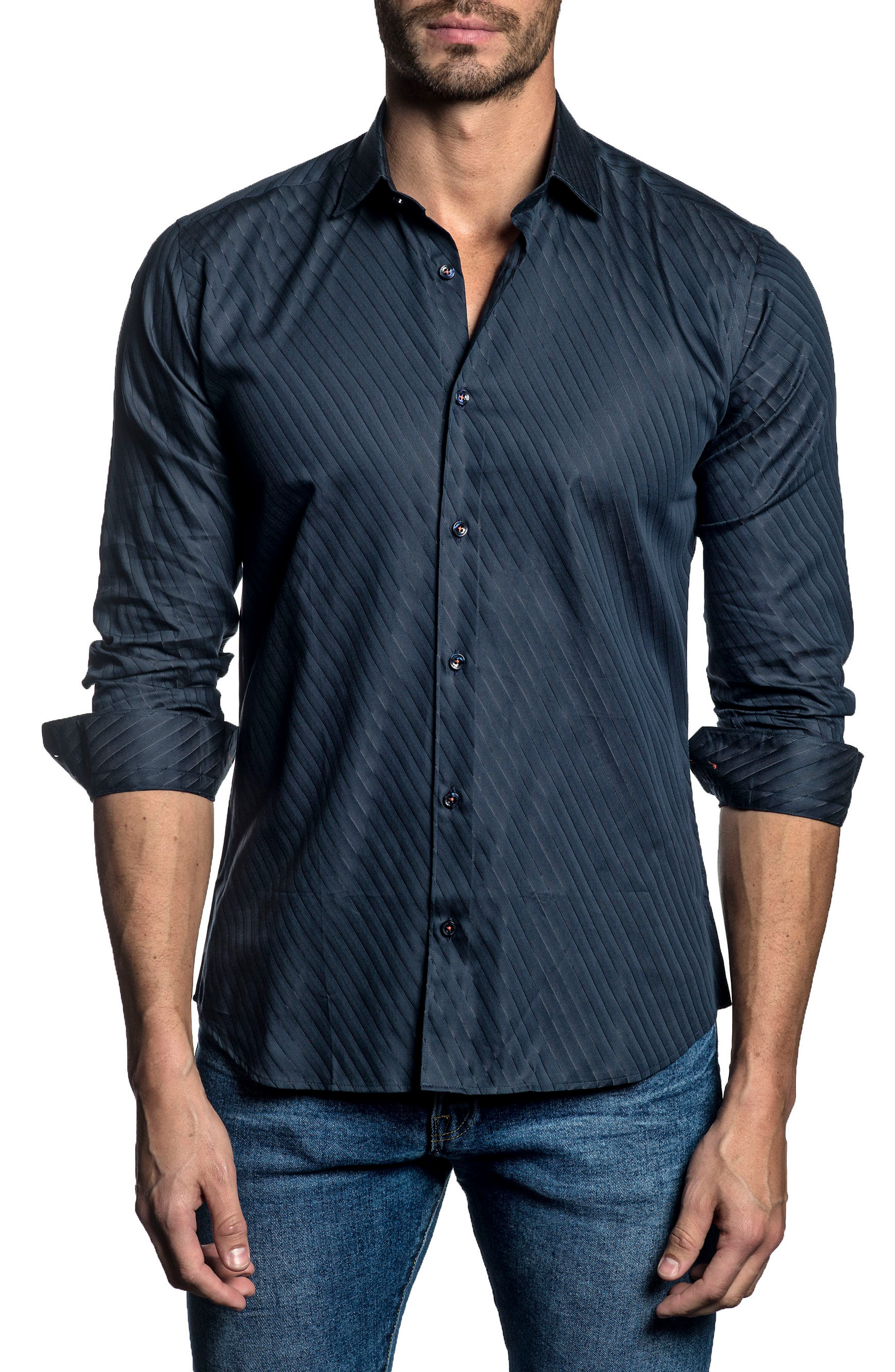 Trim Fit Angle Stripe Sport Shirt,                             Main thumbnail 1, color,                             Dark Navy