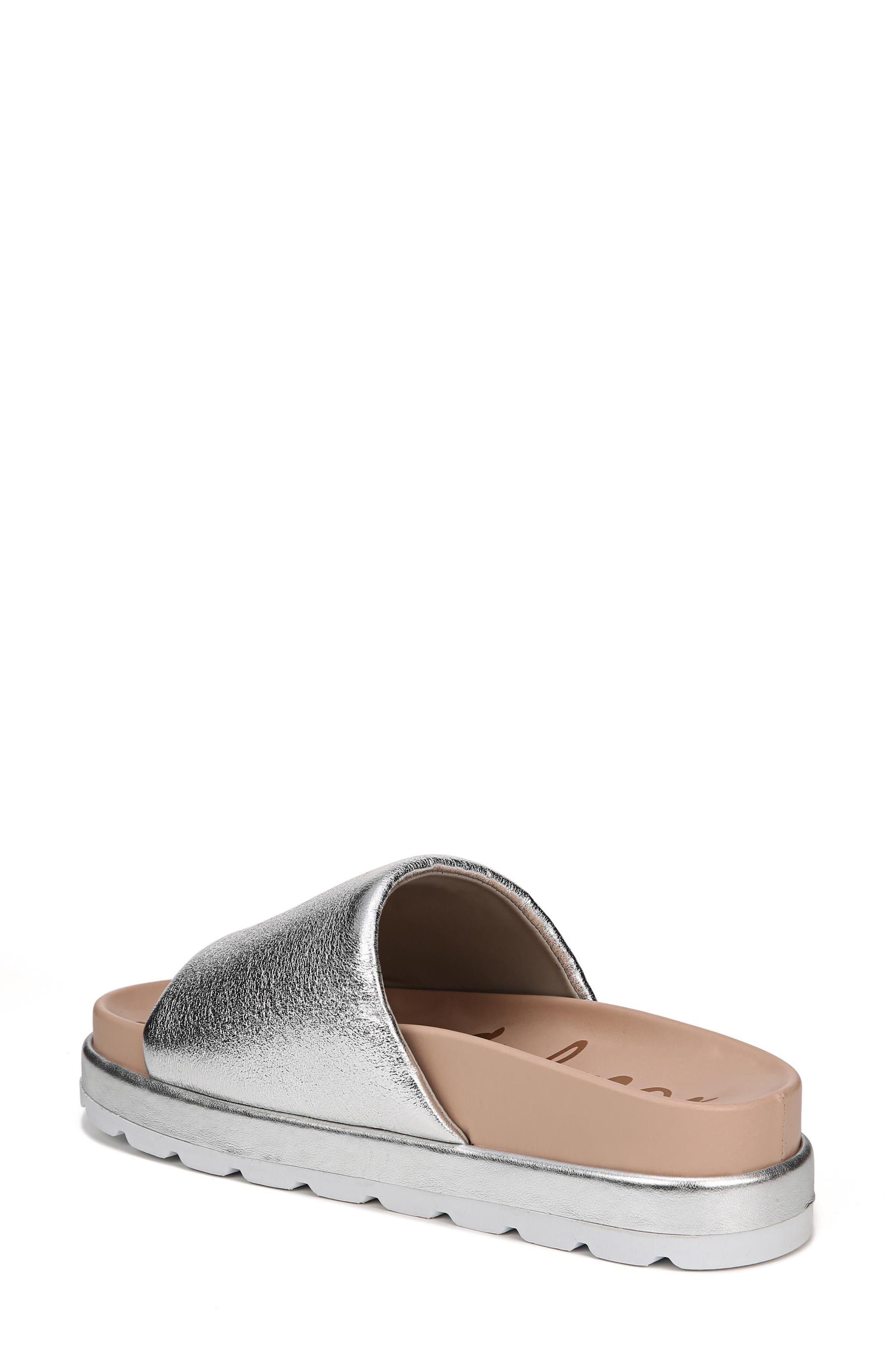 Shaye Slide Sandal,                             Alternate thumbnail 3, color,                             Soft Silver Metallic Fabric