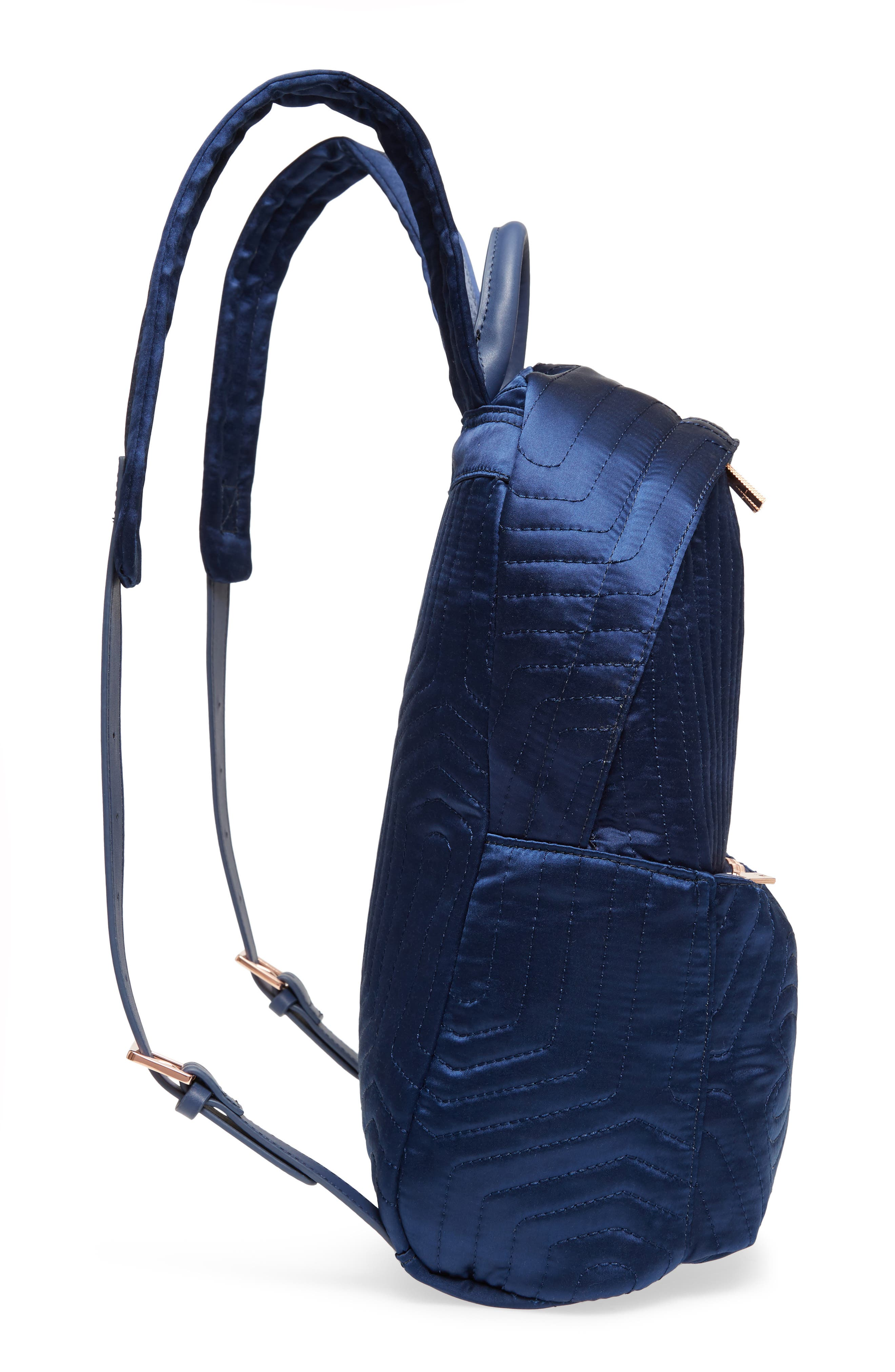 Akija Quilted Bow Backpack,                             Alternate thumbnail 5, color,                             Navy