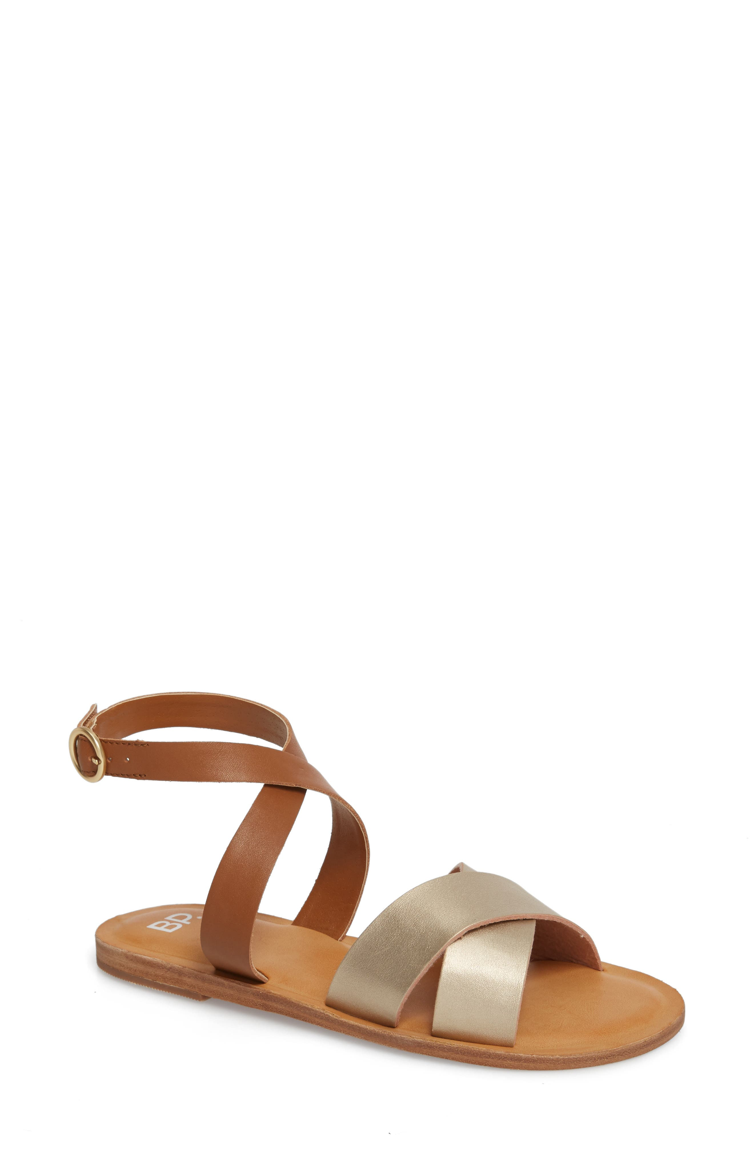 Reed Strappy Flat Sandal,                             Main thumbnail 1, color,                             Gold/Cognac