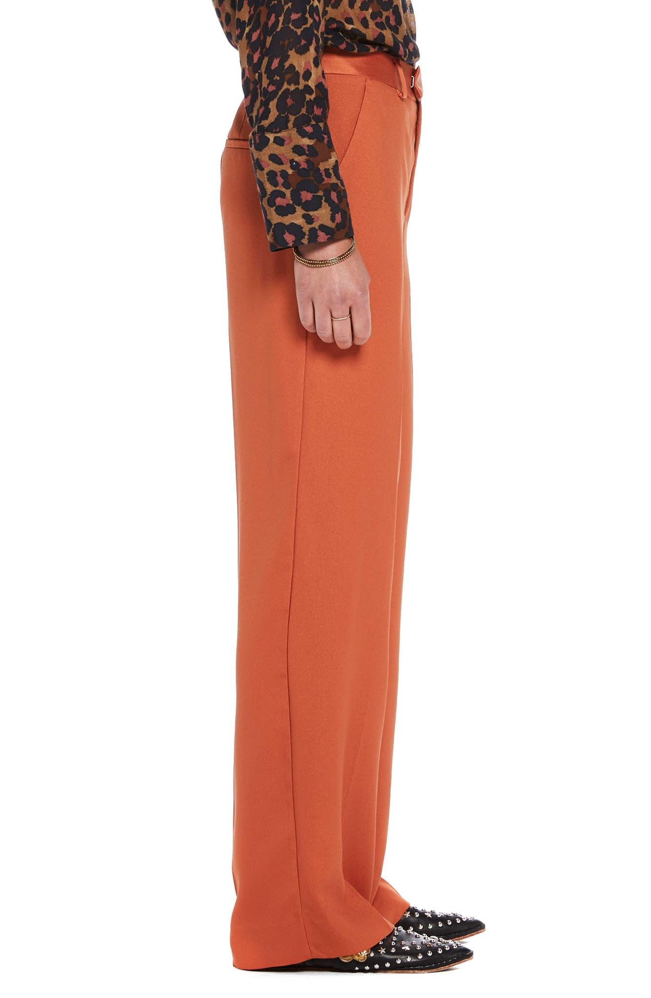 Wide Leg Pants,                             Alternate thumbnail 3, color,                             Color 2018 Tiger Orange