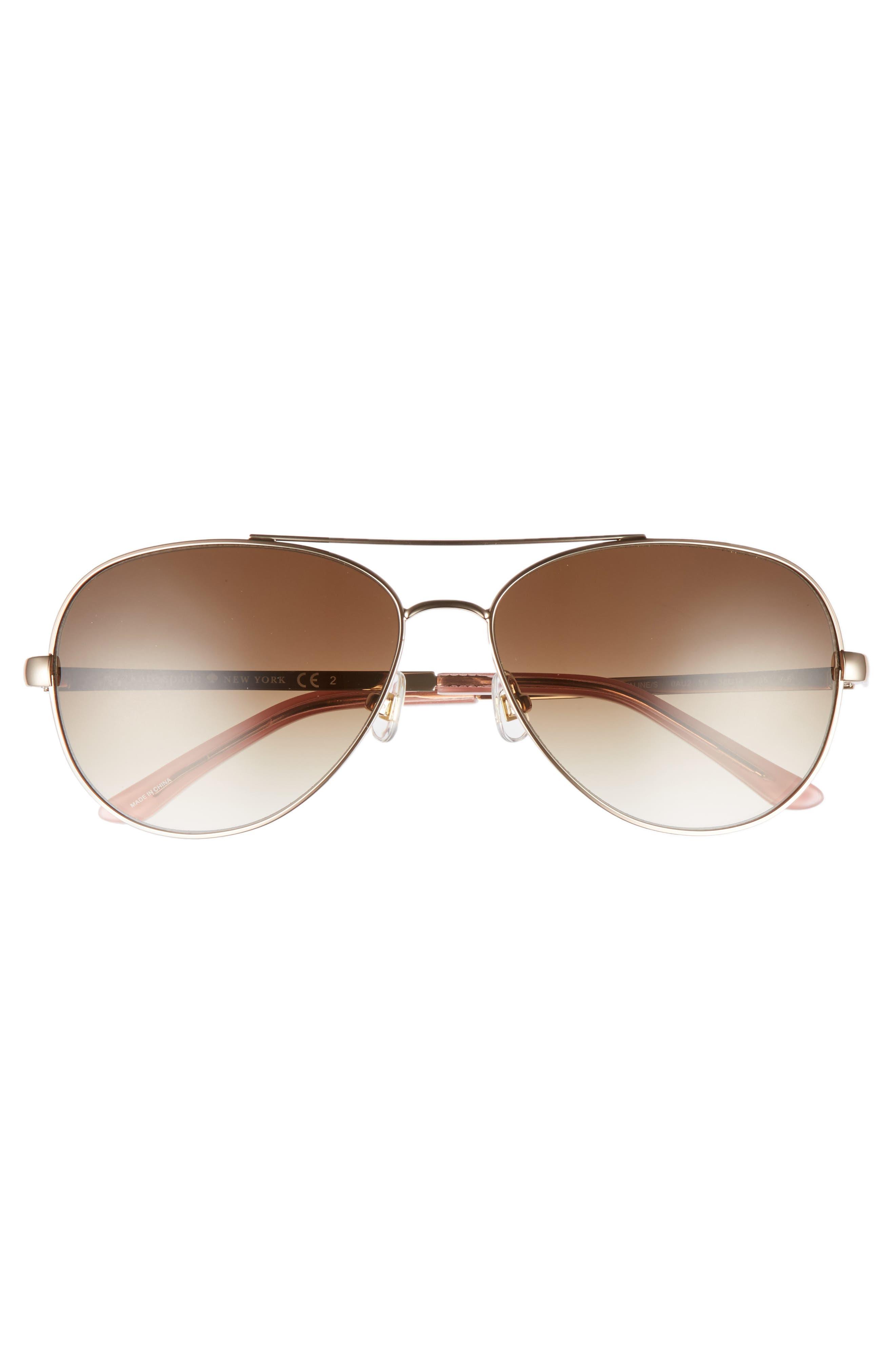 'avaline' 58mm aviator sunglasses,                             Alternate thumbnail 3, color,                             Rose Gold/ Brown Gradient