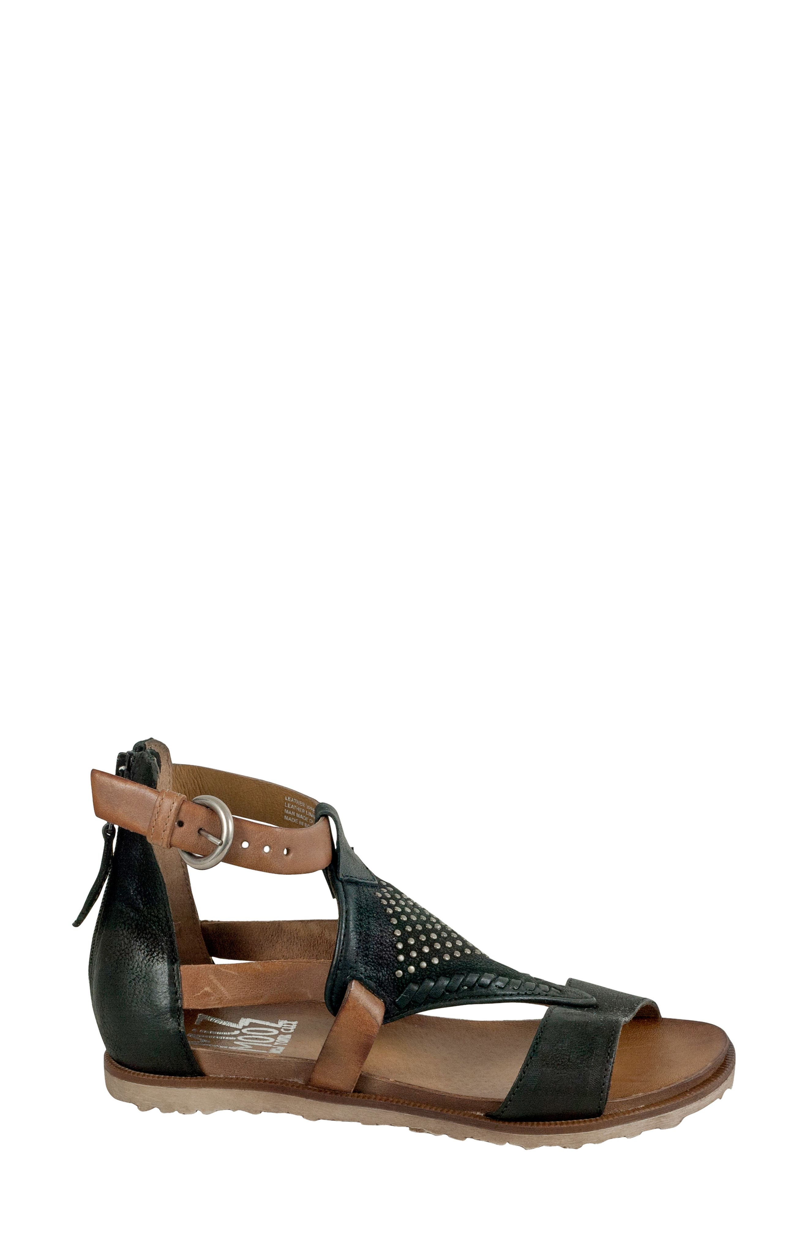 Tessa Studded Diamond Sandal,                             Alternate thumbnail 3, color,                             Black Leather