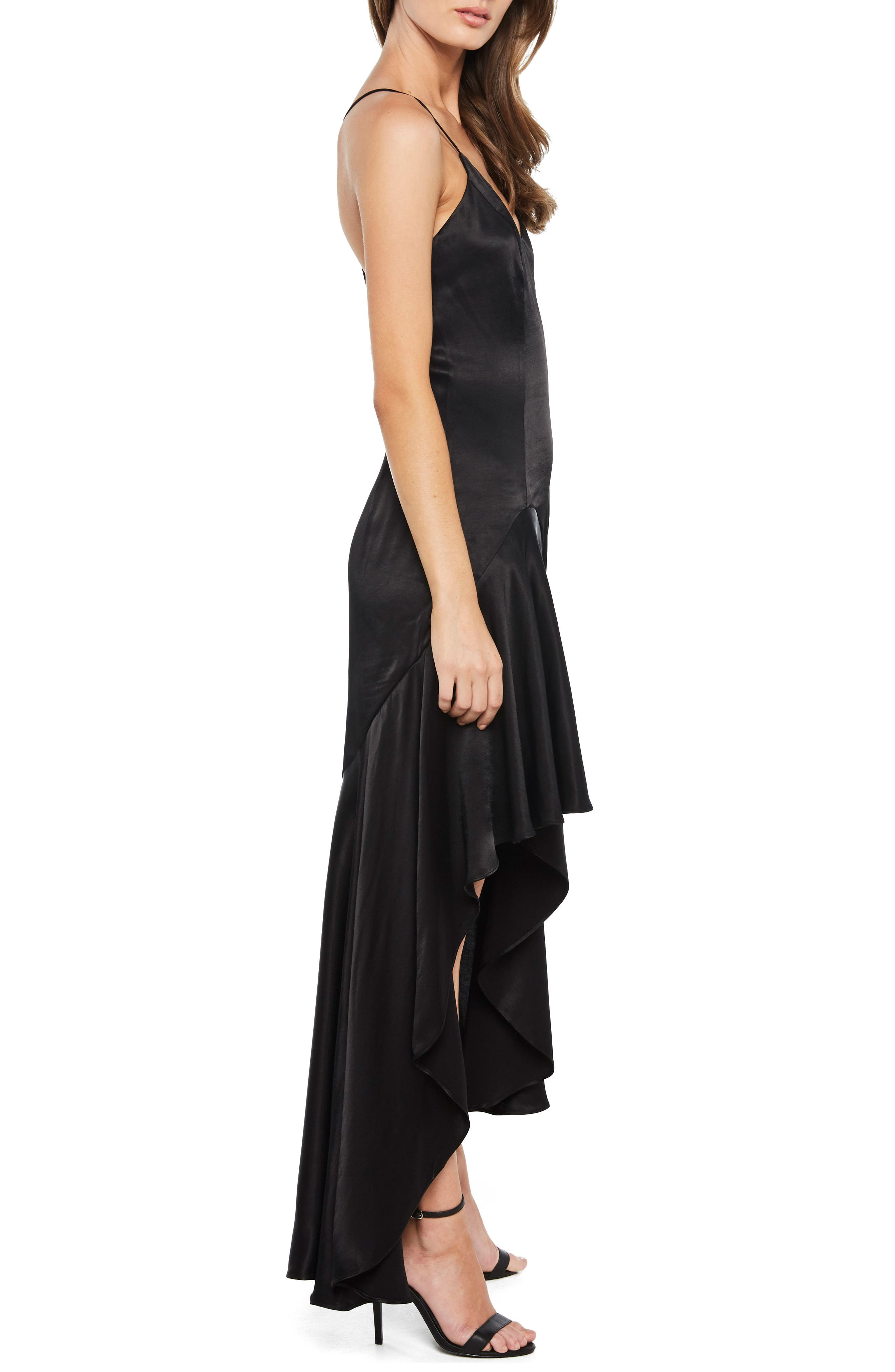 Arella Satin Gown,                             Alternate thumbnail 3, color,                             Black