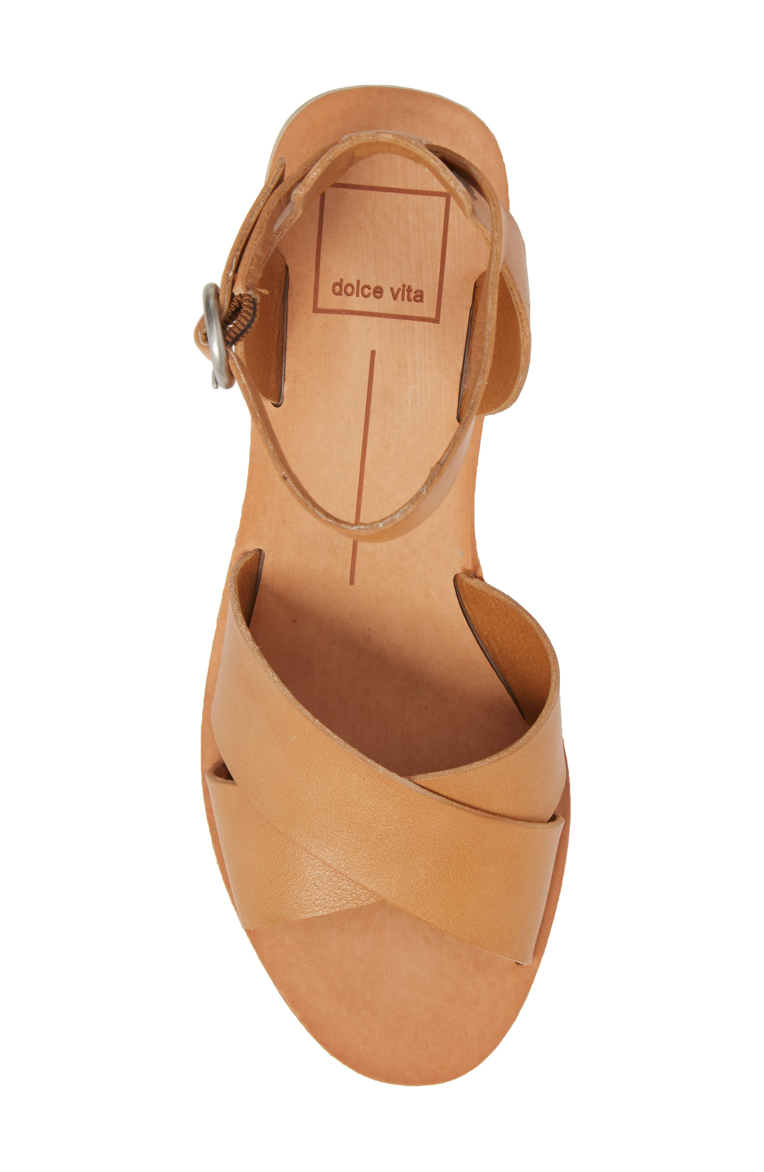Roman Flared Heel Sandal,                             Alternate thumbnail 5, color,                             Caramel Leather