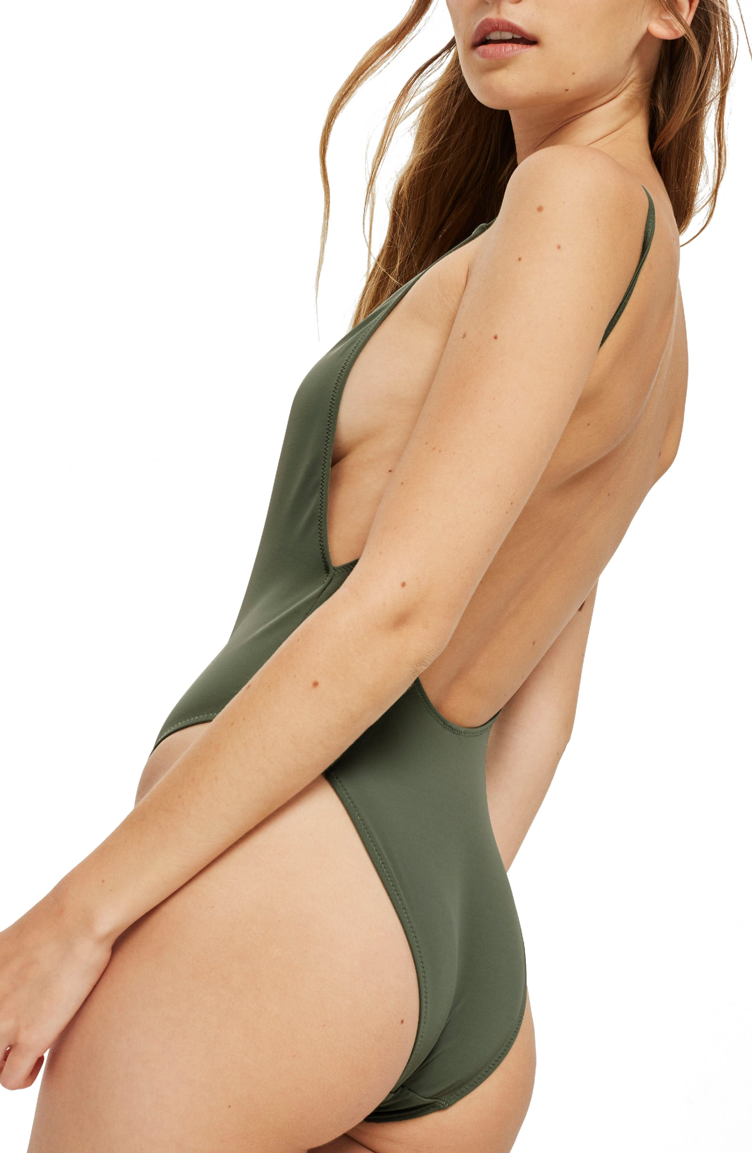 Ruched Front Plunge Swimsuit,                             Alternate thumbnail 2, color,                             Olive
