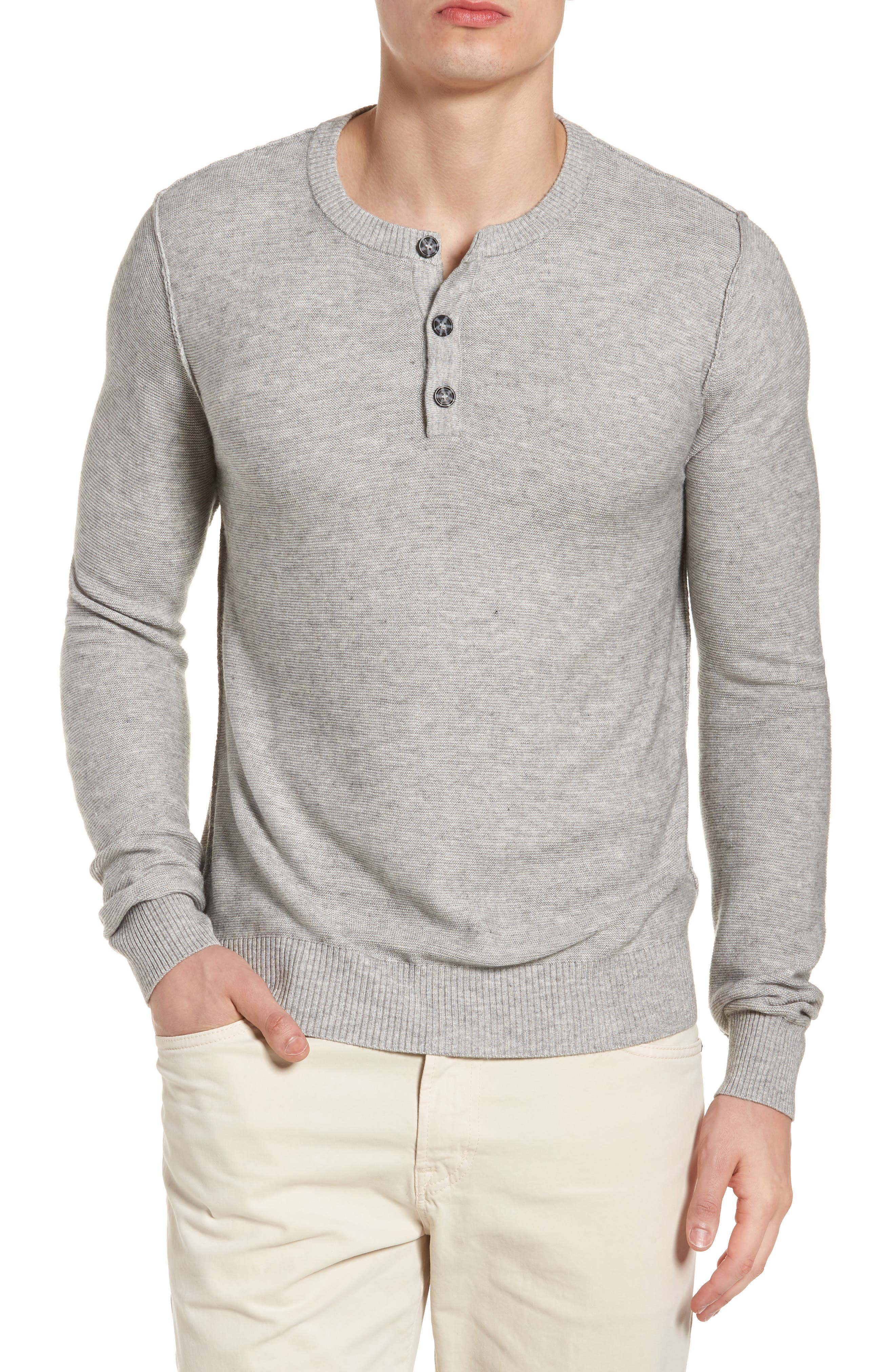 Tailored Fit Henley,                         Main,                         color, Light Grey