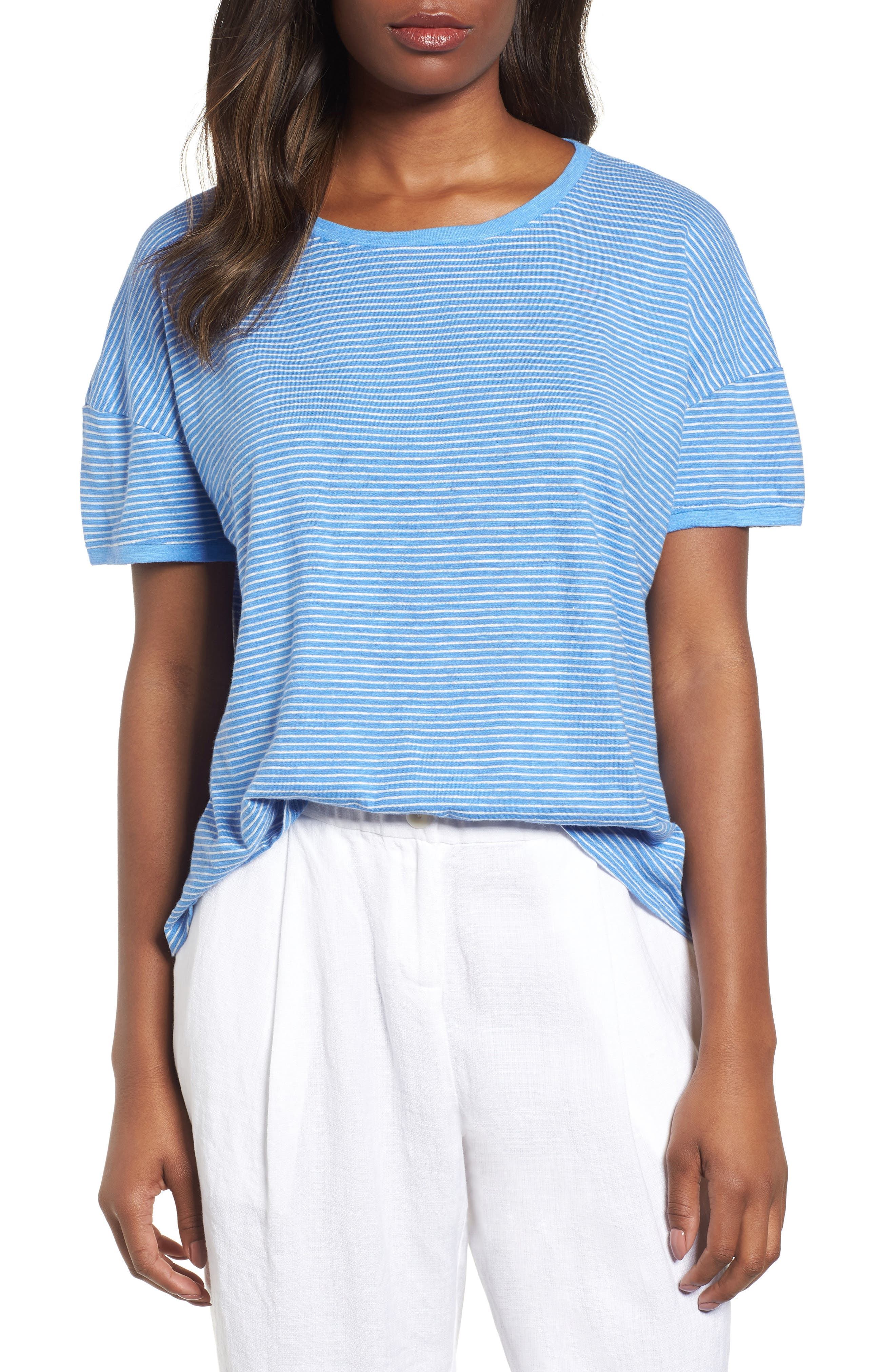 Eileen Fisher Stripe Boxy Hemp & Organic Cotton Tee