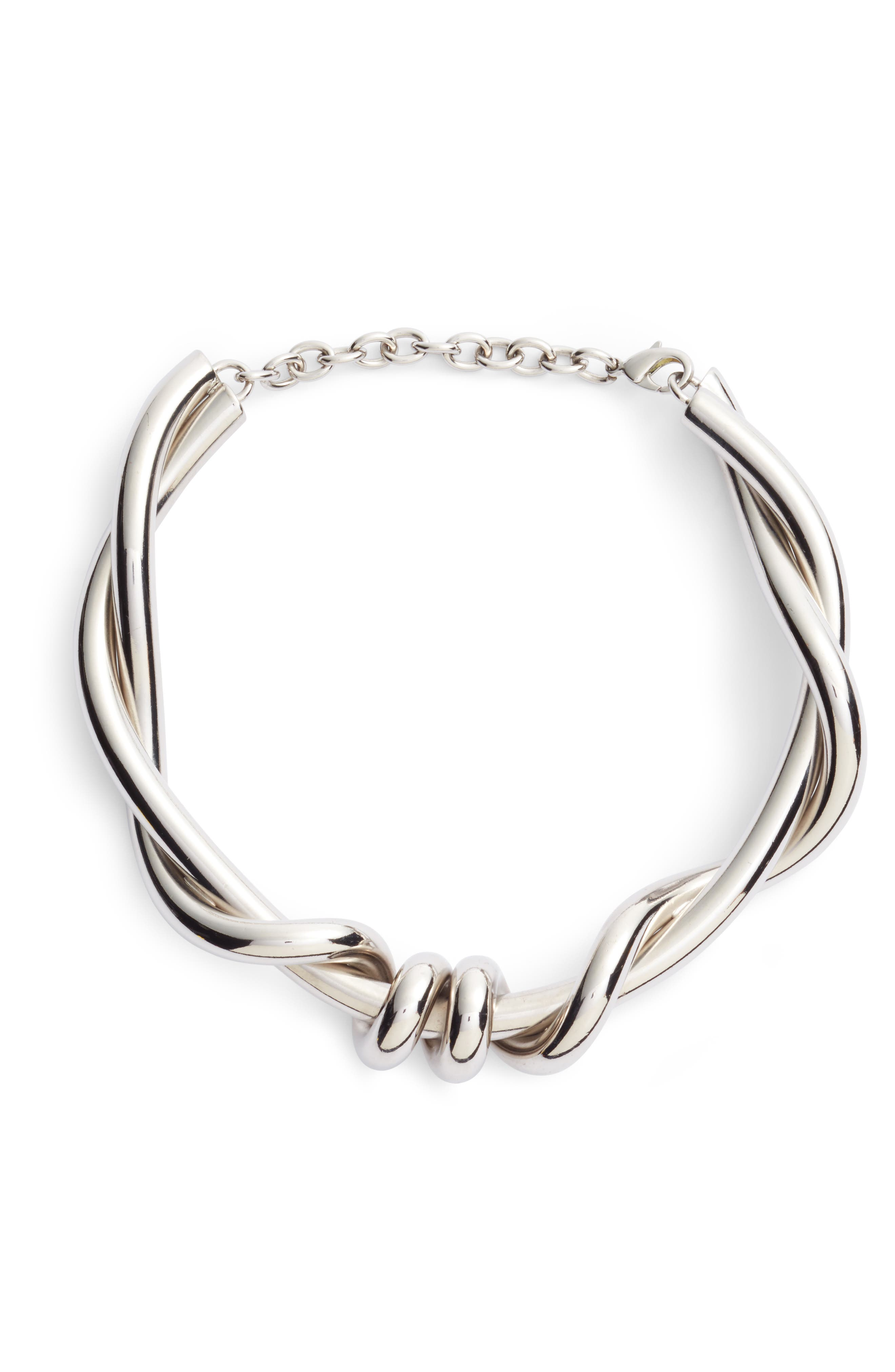 Modern Twist Necklace,                         Main,                         color, Silver