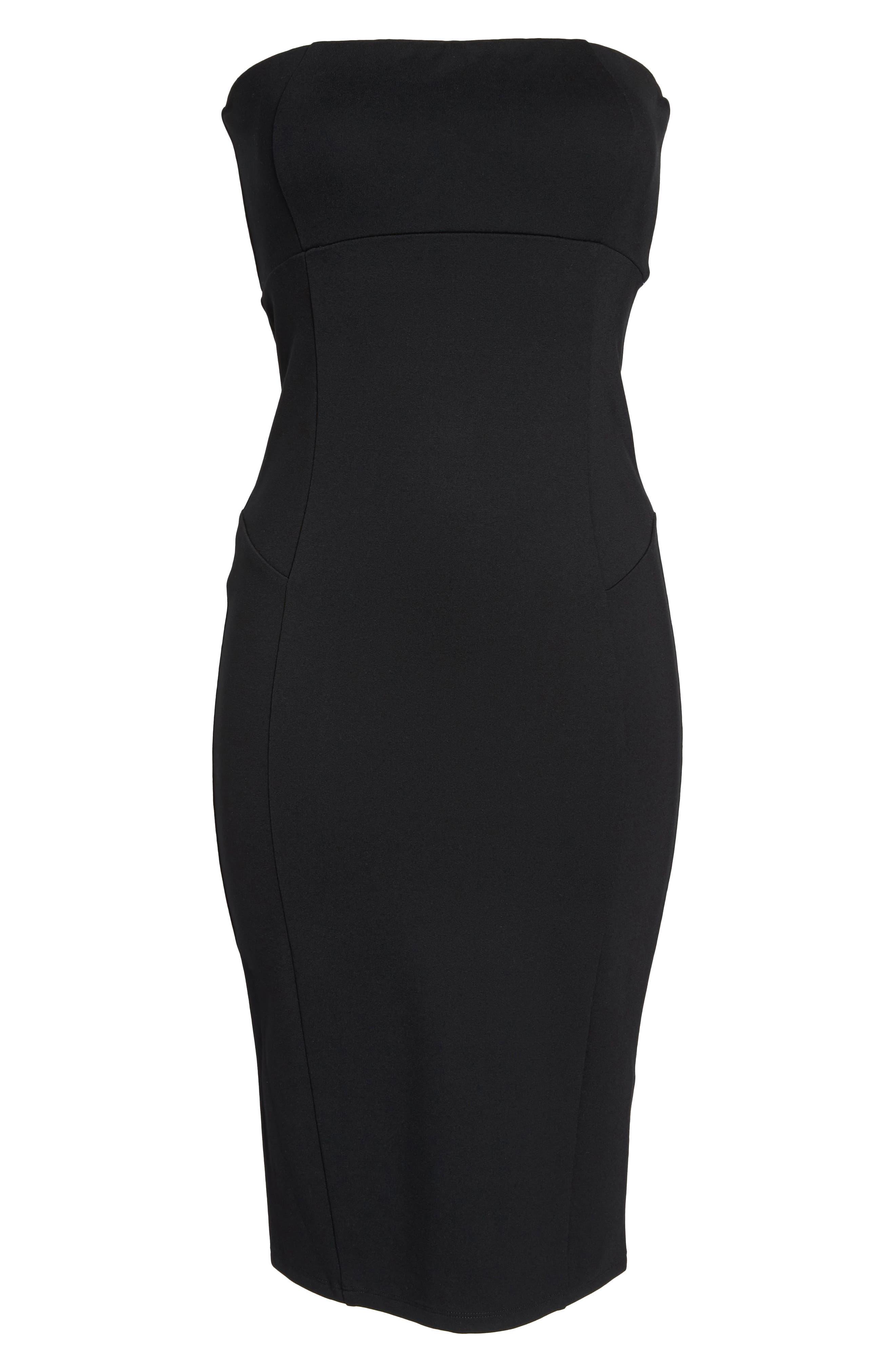 Brianna Strapless Knit Body-Con Dress,                             Alternate thumbnail 6, color,                             Black