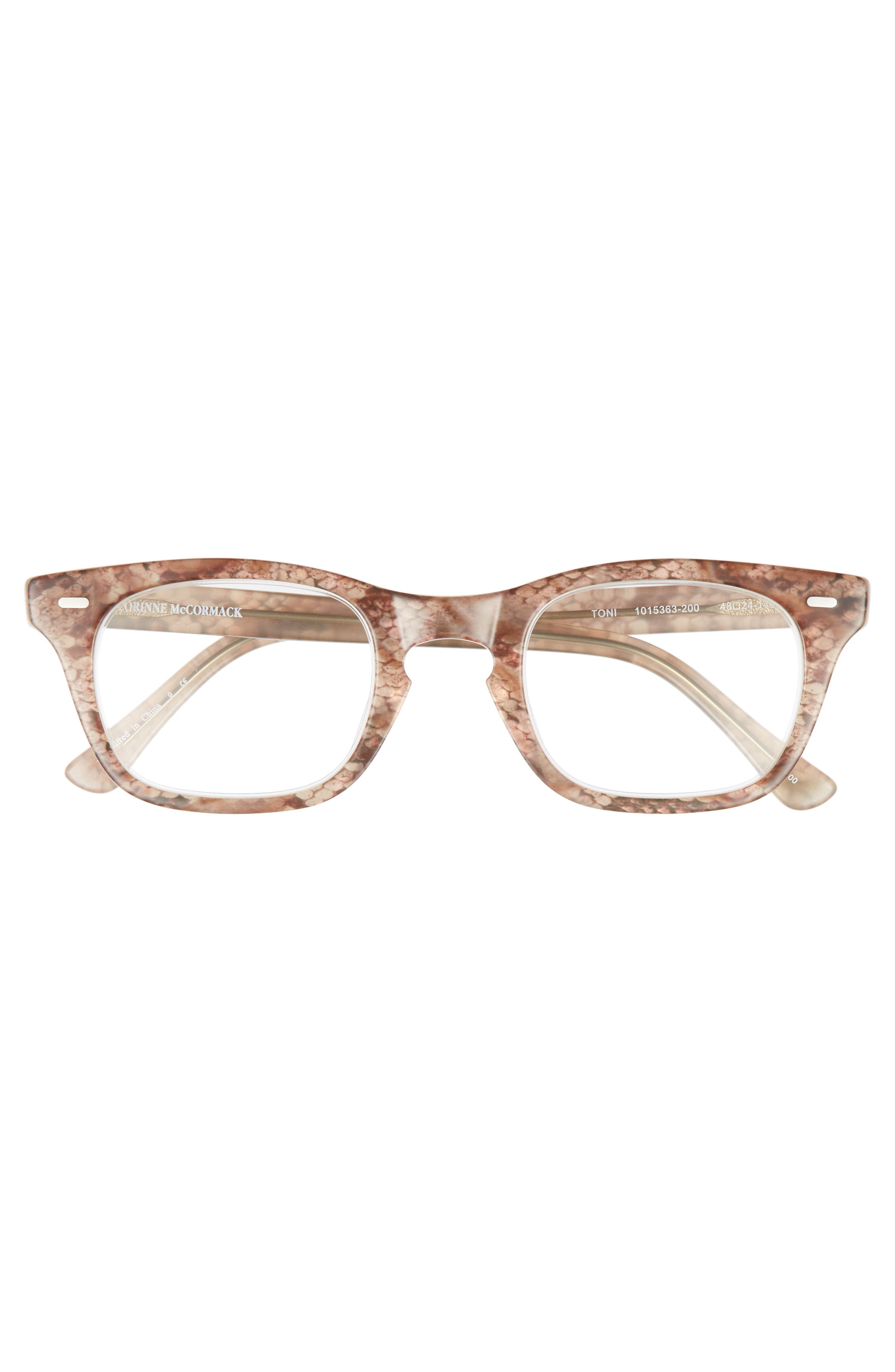 'Toni' 48mm Reading Glasses,                             Alternate thumbnail 3, color,                             Brown Snake