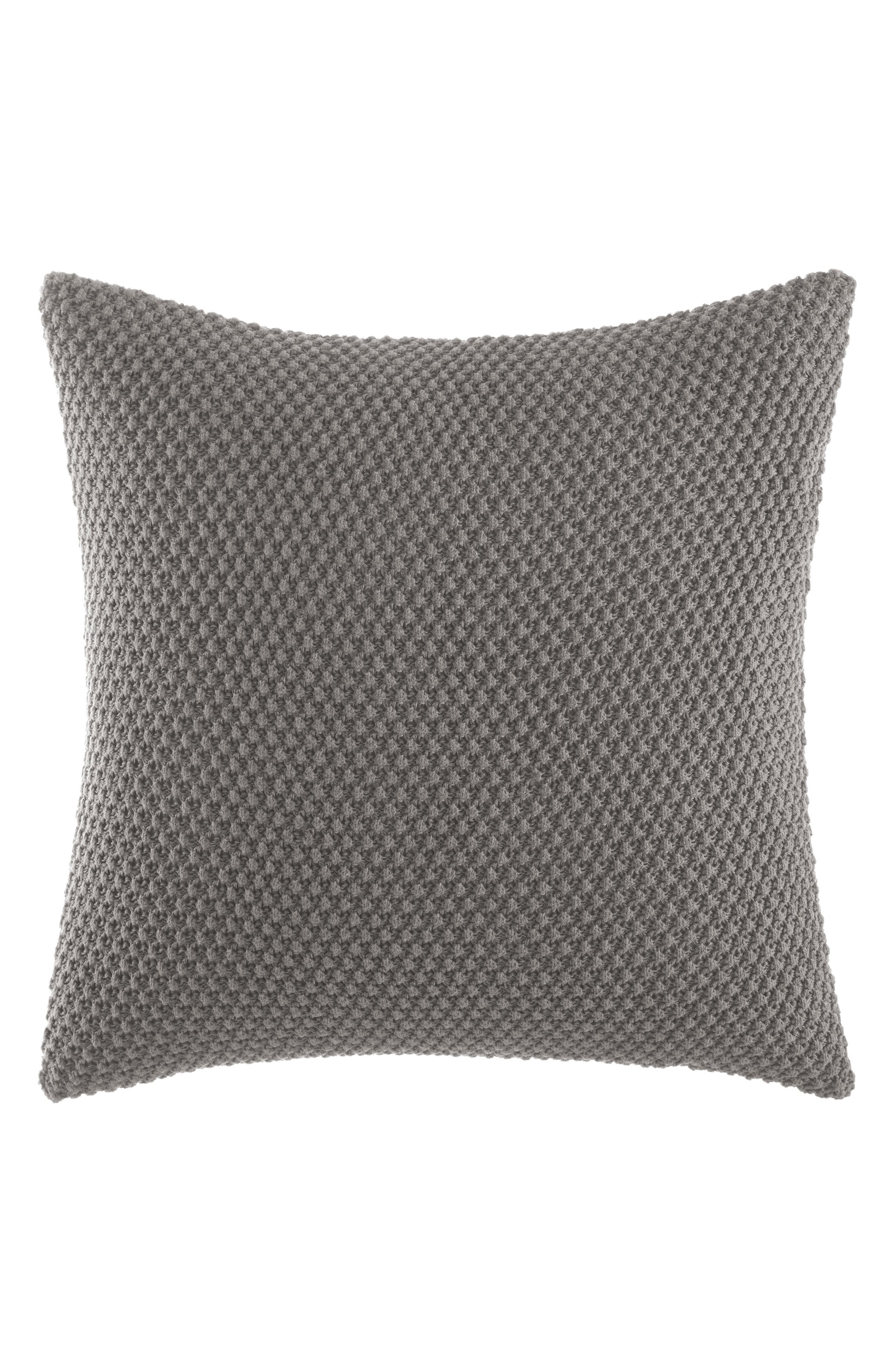 Transparent Leaves Knit Euro Sham,                         Main,                         color, Medium Gray