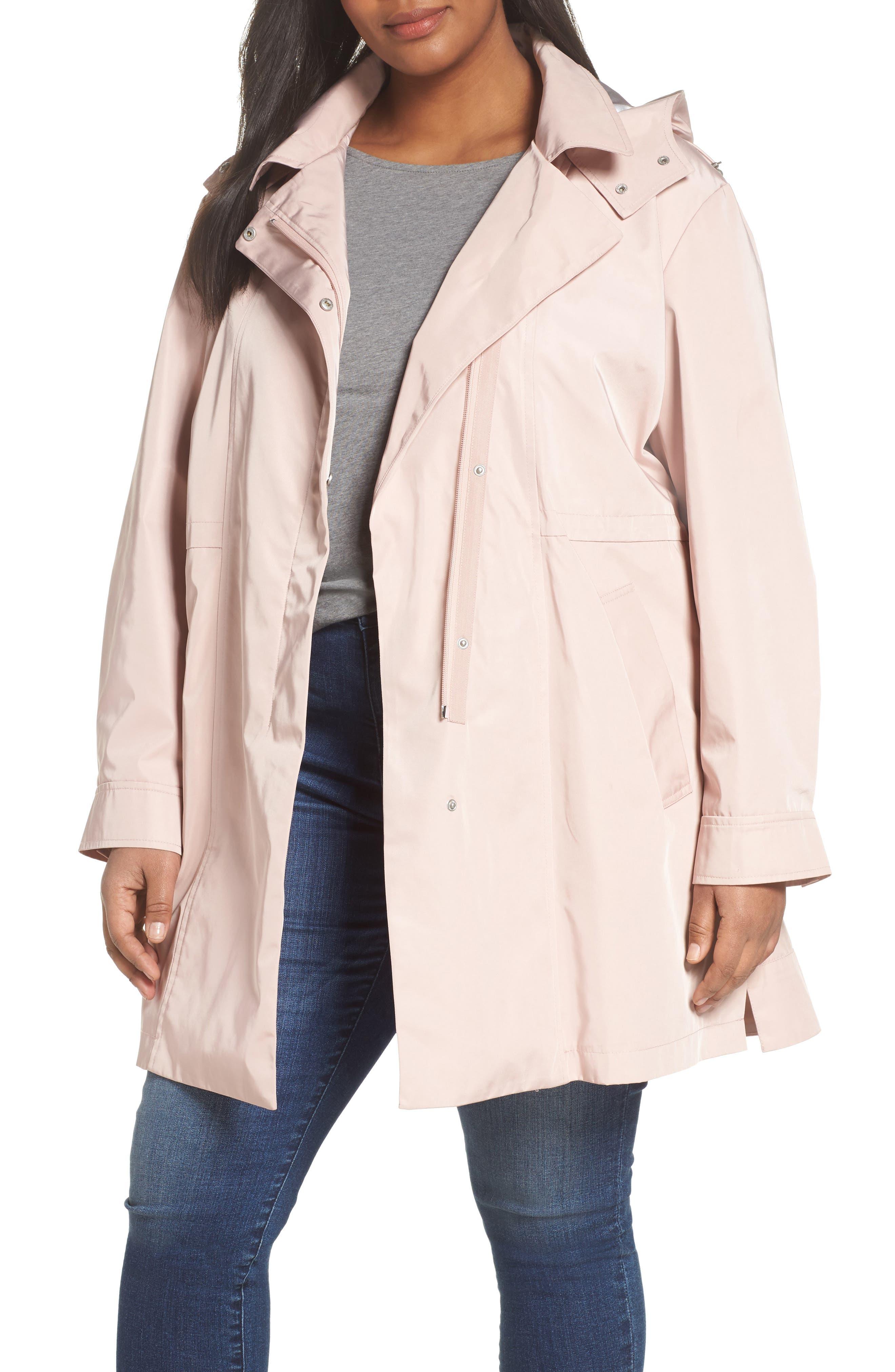 Kristen Blake Tech Hooded Trench Coat (Plus Size)
