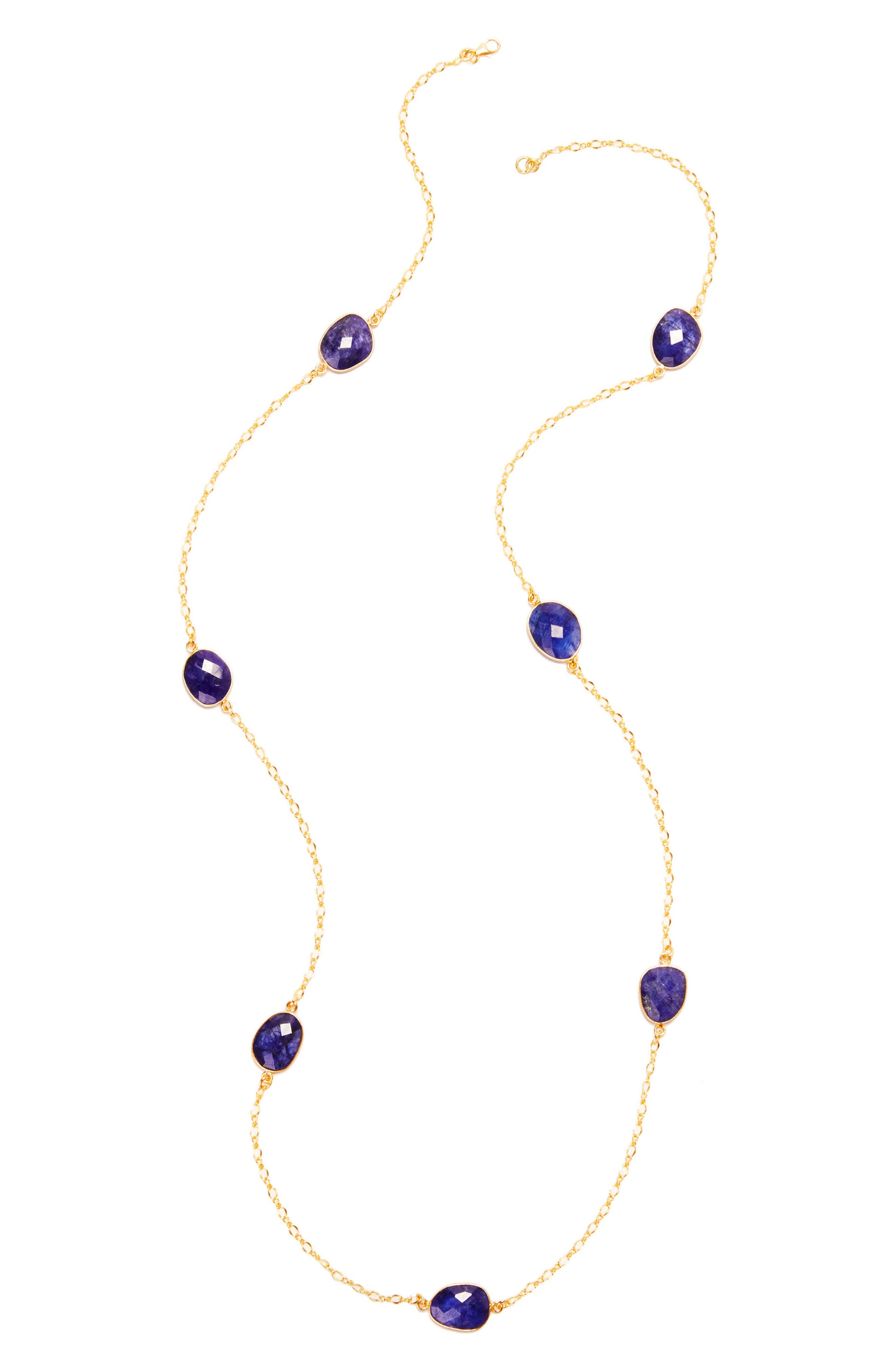Laguna Semiprecious Stone Station Necklace,                             Main thumbnail 1, color,                             Sapphire