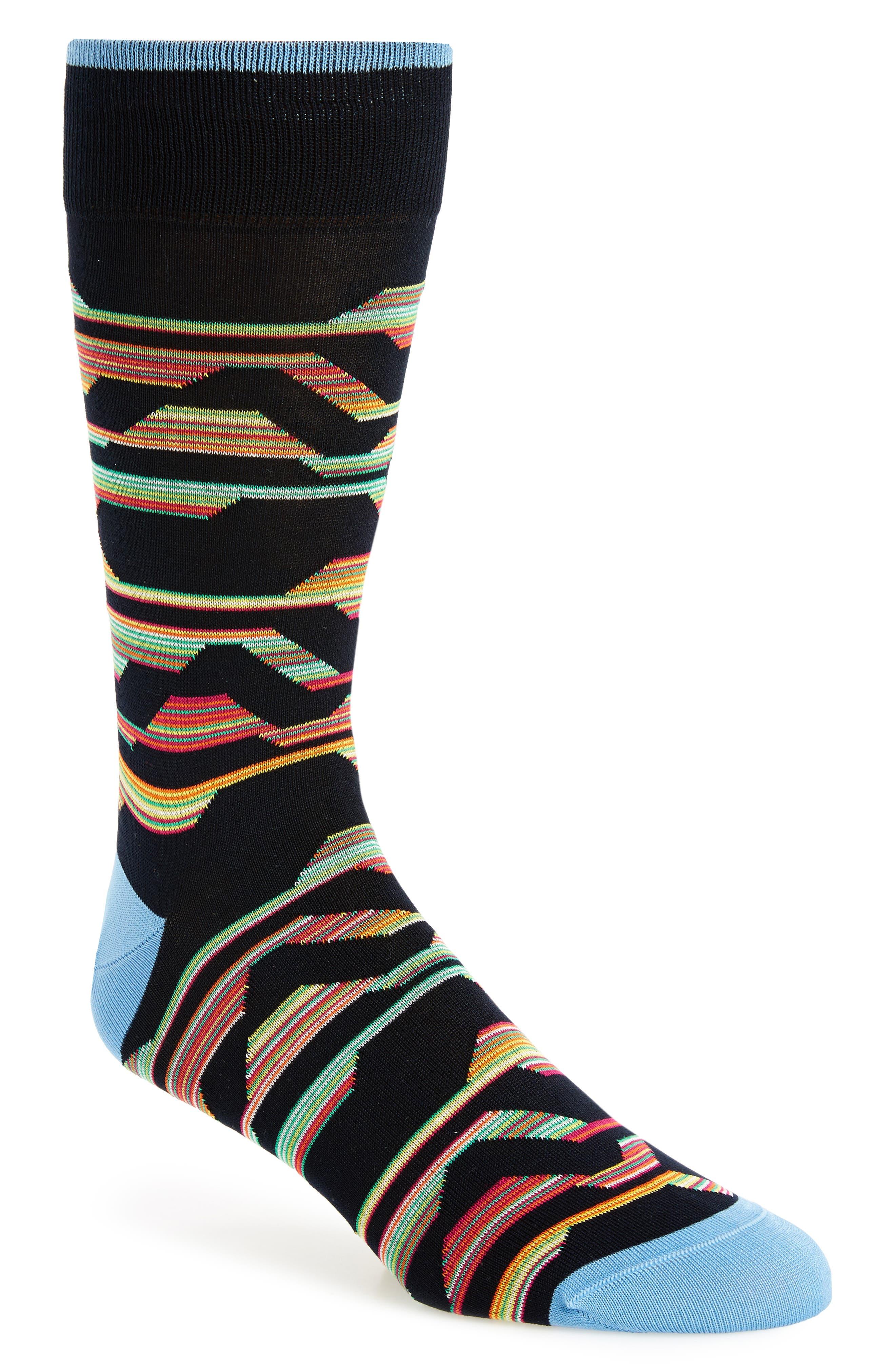 Mercerized Cotton Blend Socks,                         Main,                         color, Midnight