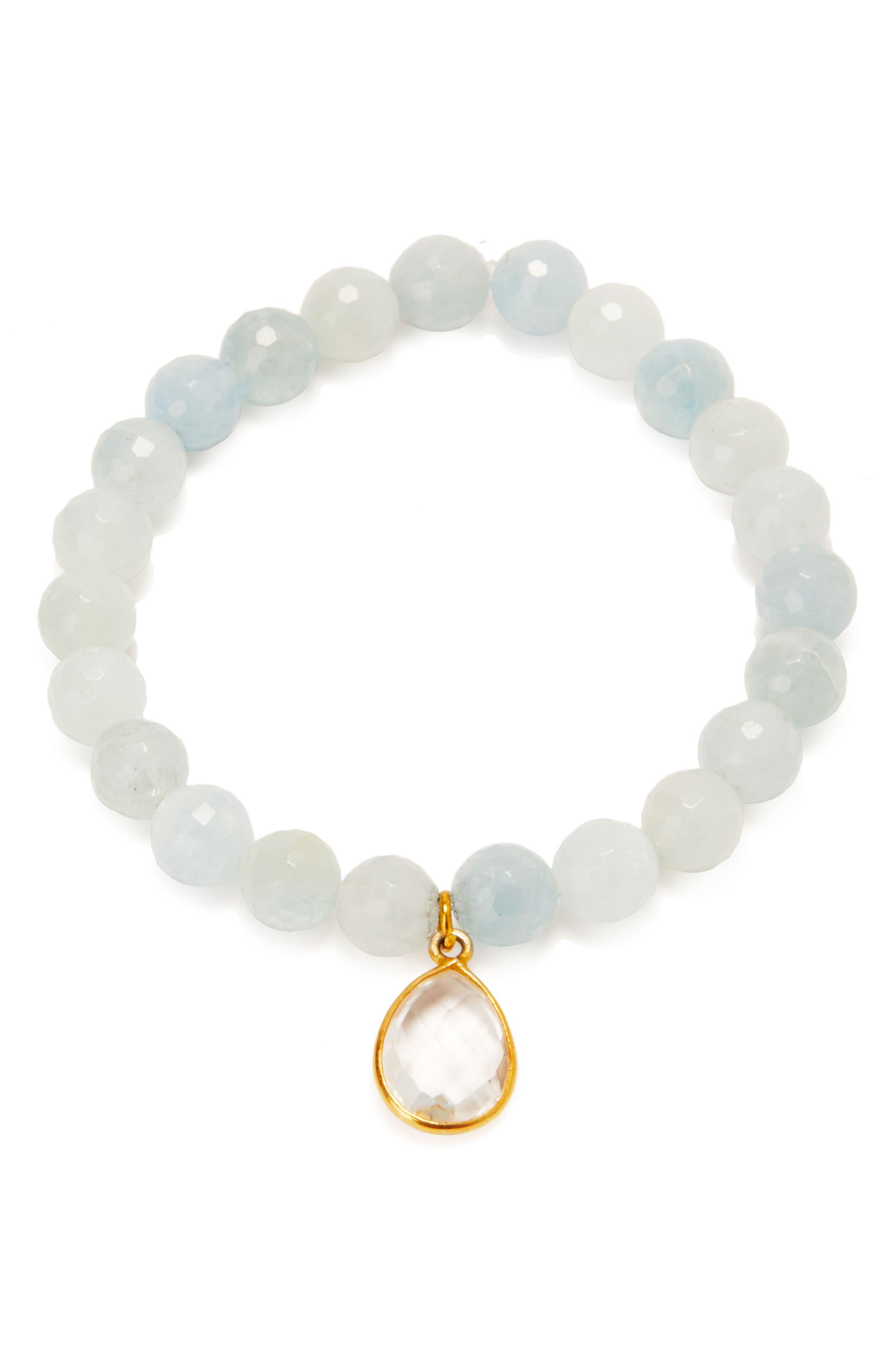 Malibu Semiprecious Stone Bracelet,                             Main thumbnail 1, color,                             Aquamarine