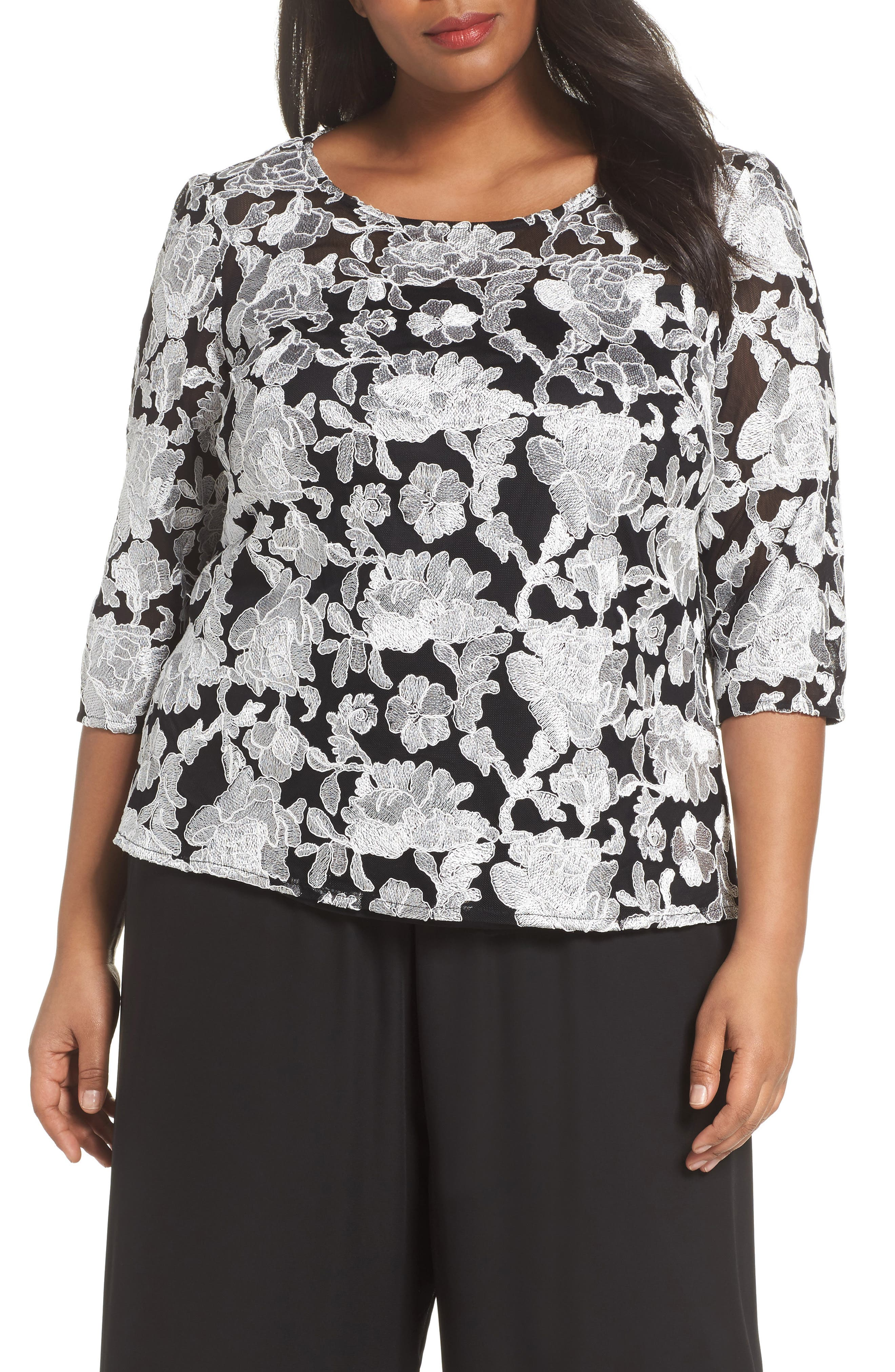 Alex Evenings Floral Embroidered Blouse (Plus Size)