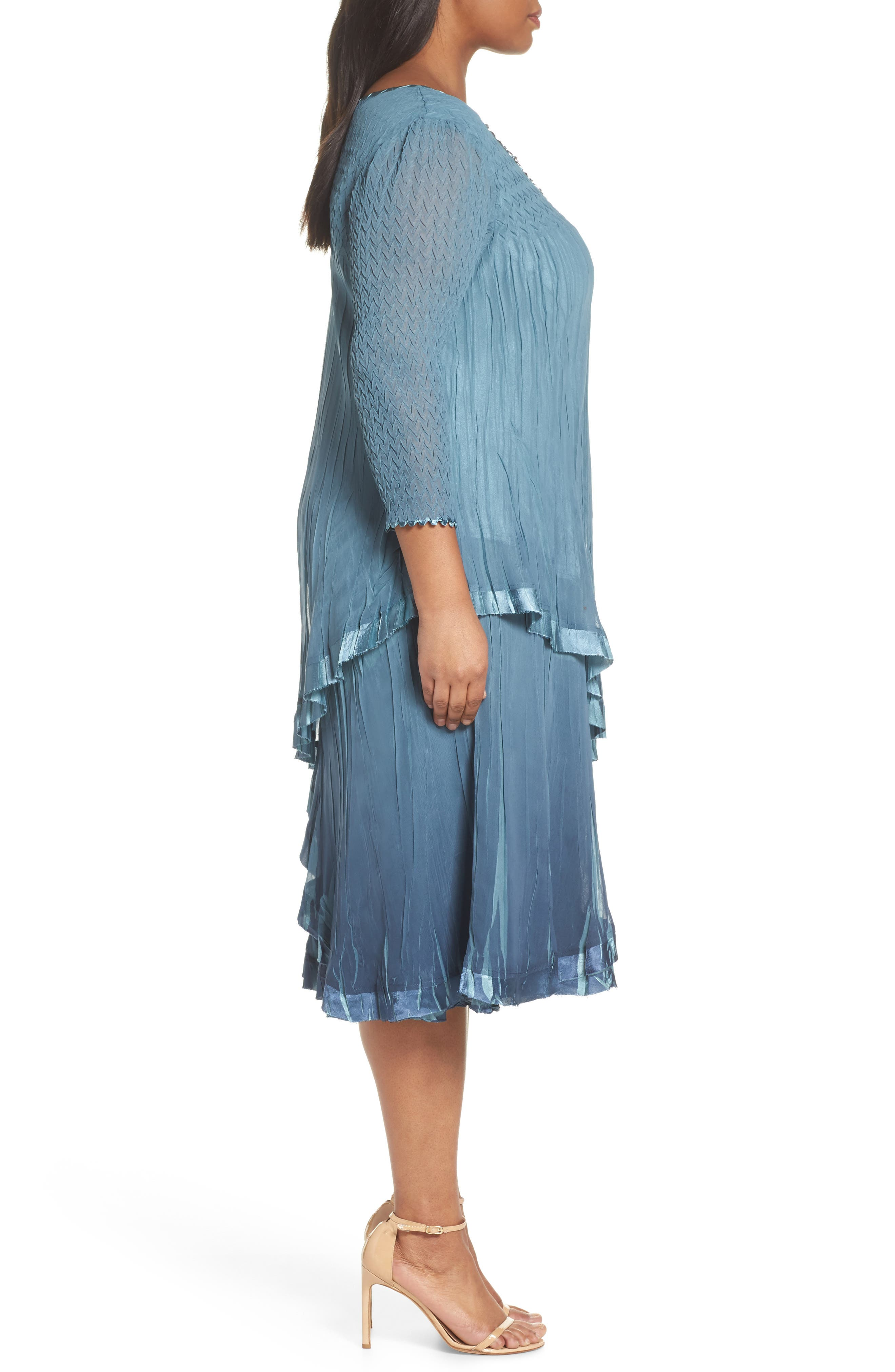 Bead Trim Tiered Chiffon Dress,                             Alternate thumbnail 3, color,                             Silver Blue Night Ombre
