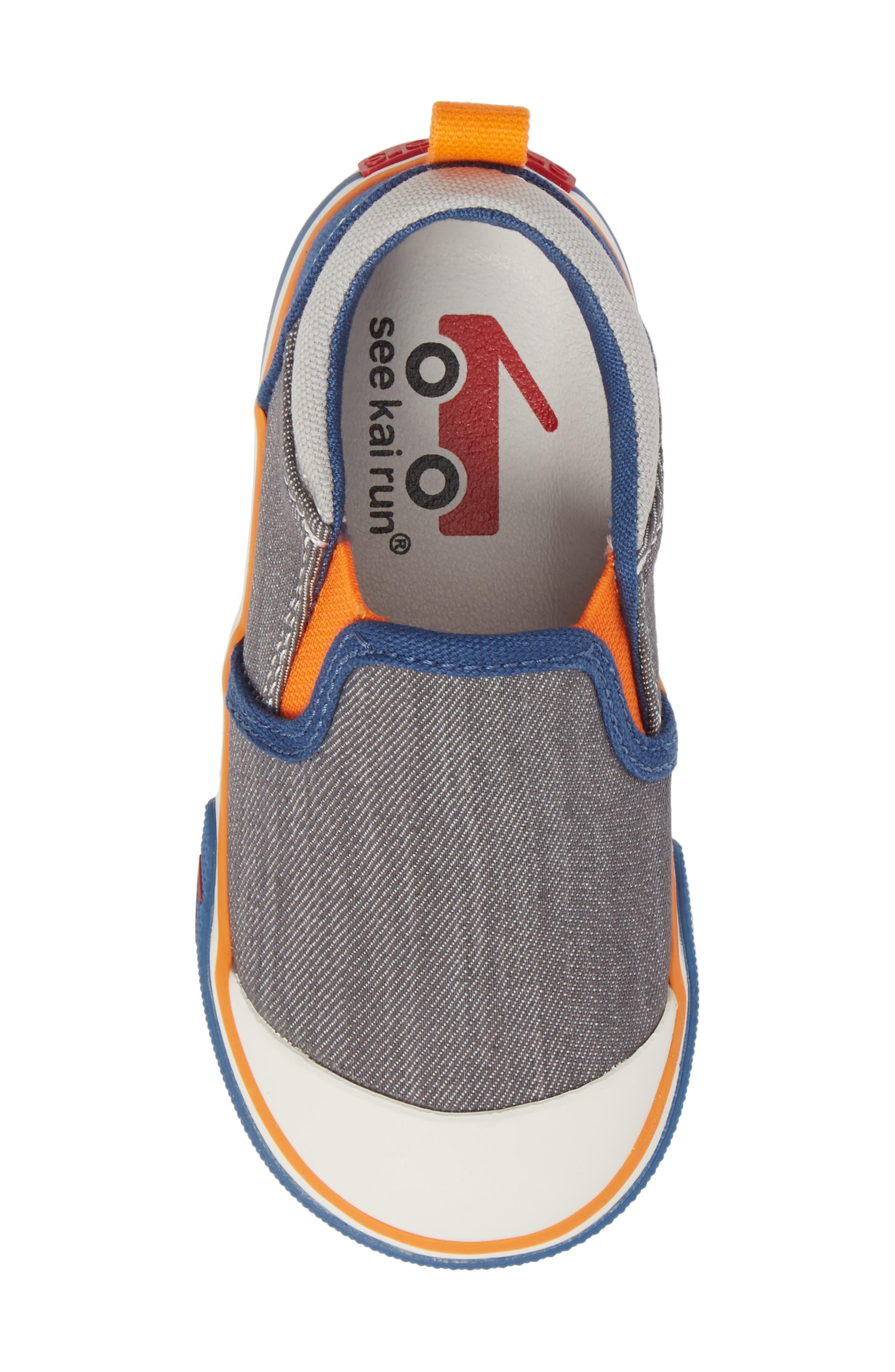 Slater Colorblock Slip-On Sneaker,                             Alternate thumbnail 5, color,                             Gray/ Blue