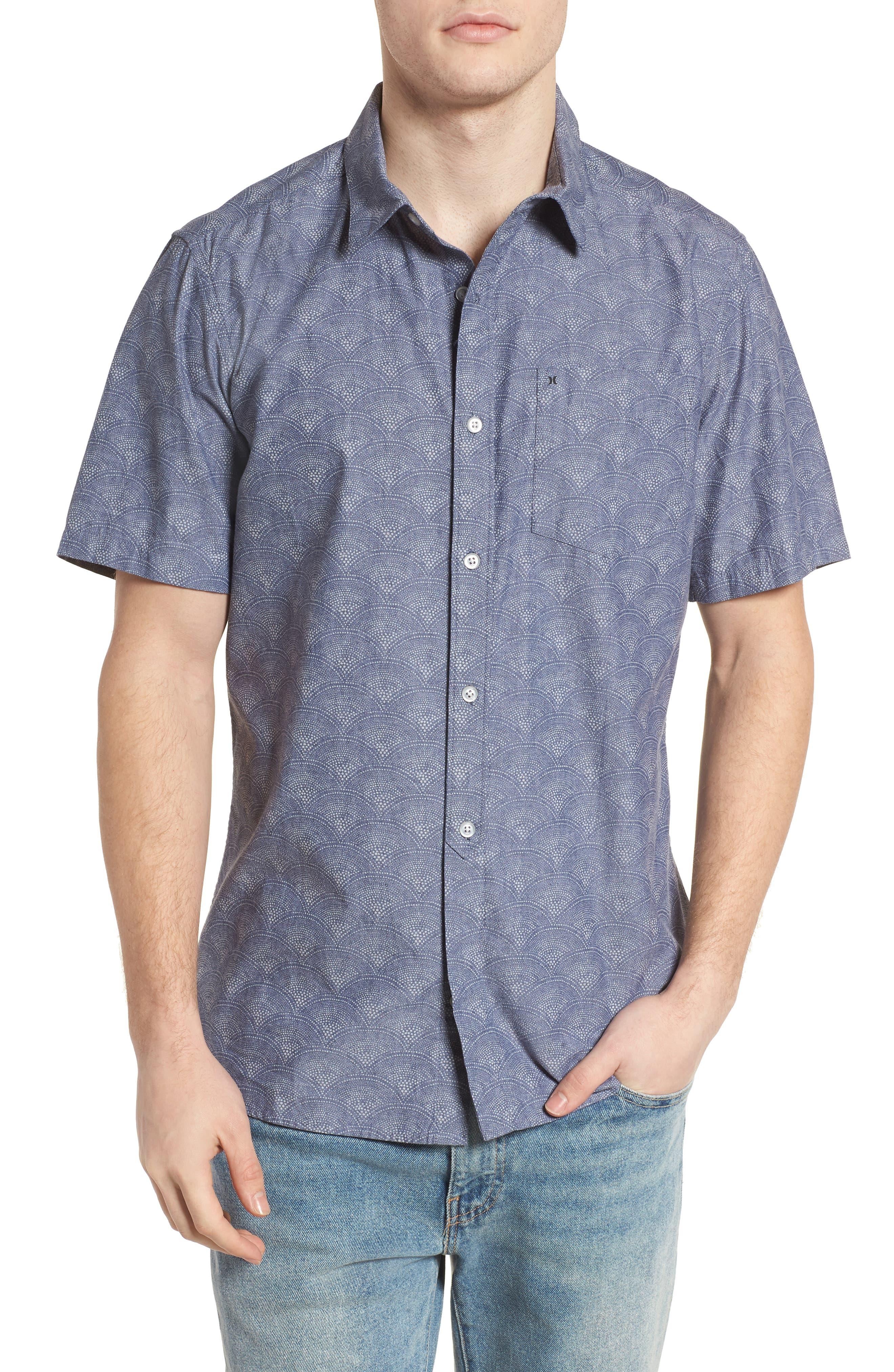 Pescado Short Sleeve Oxford Shirt,                         Main,                         color, Obsidian