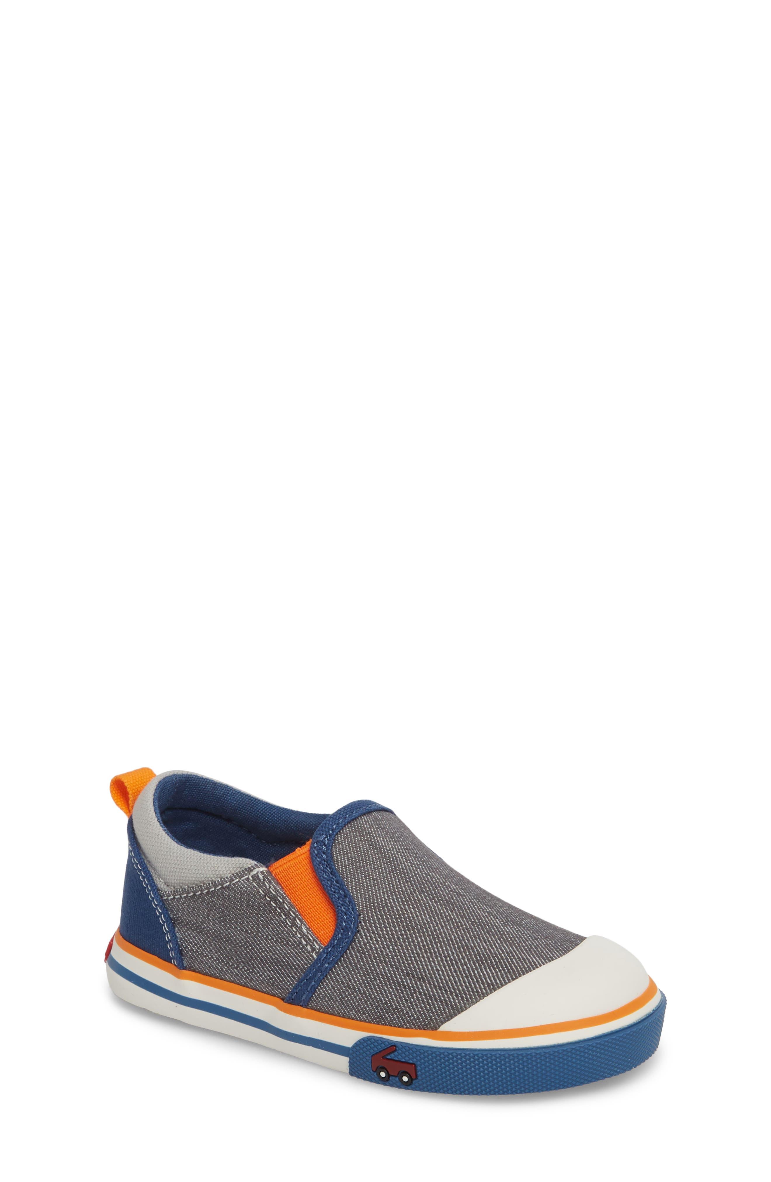 Slater Colorblock Slip-On Sneaker,                         Main,                         color, Gray/ Blue