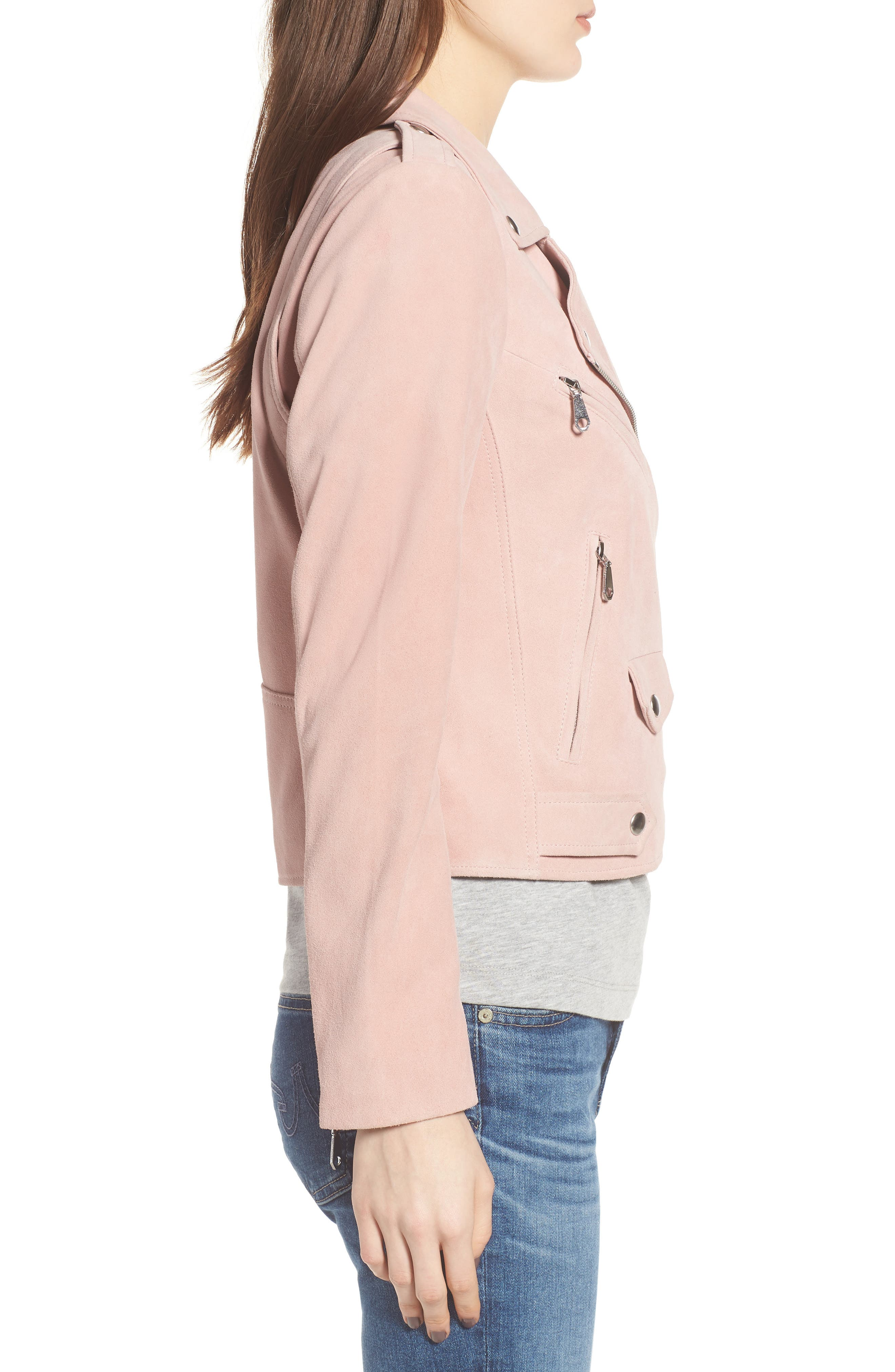 Wes Suede Moto Jacket,                             Alternate thumbnail 3, color,                             Light Pink