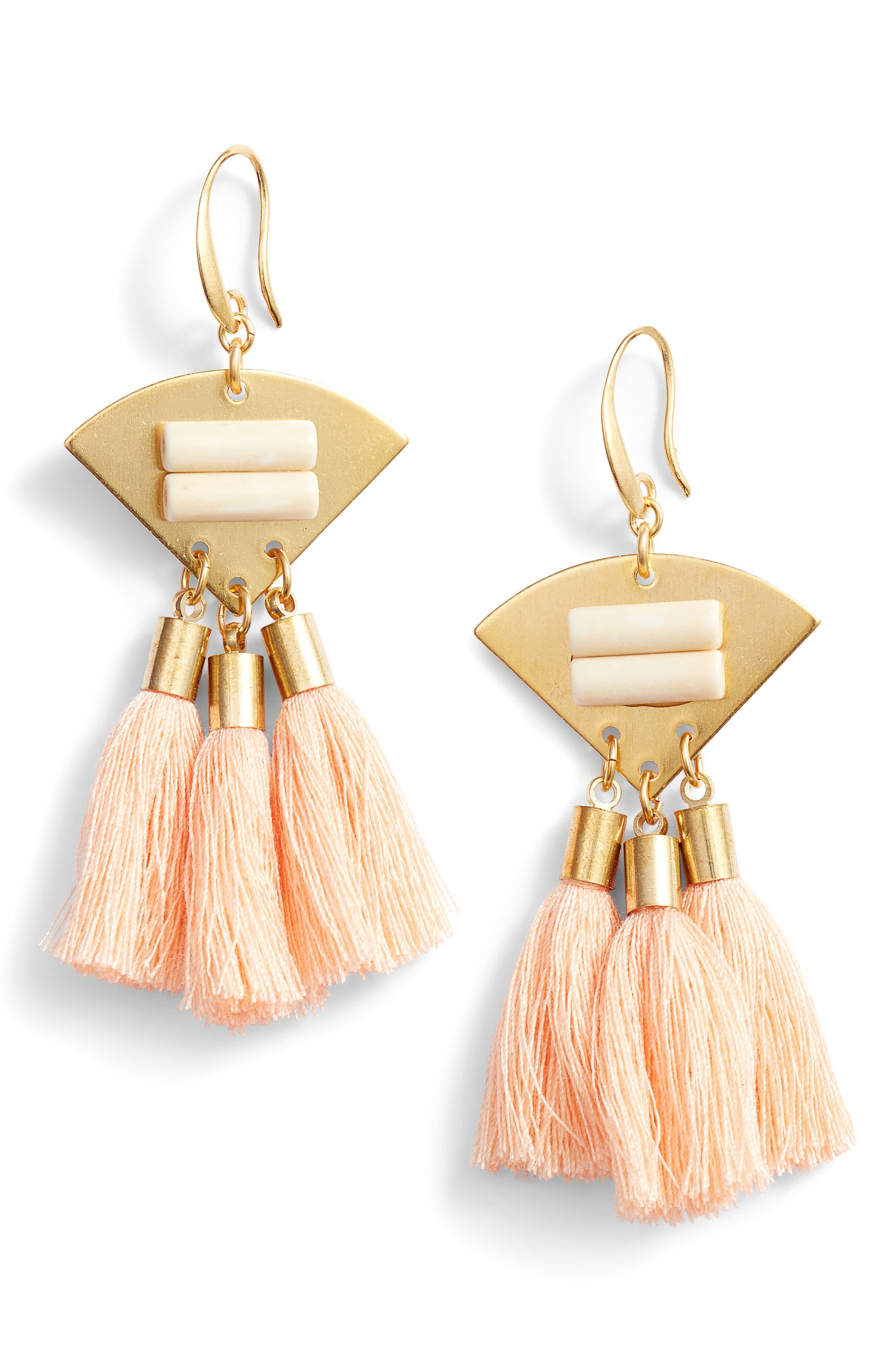 3-Tassel Earrings,                             Main thumbnail 1, color,                             Blush