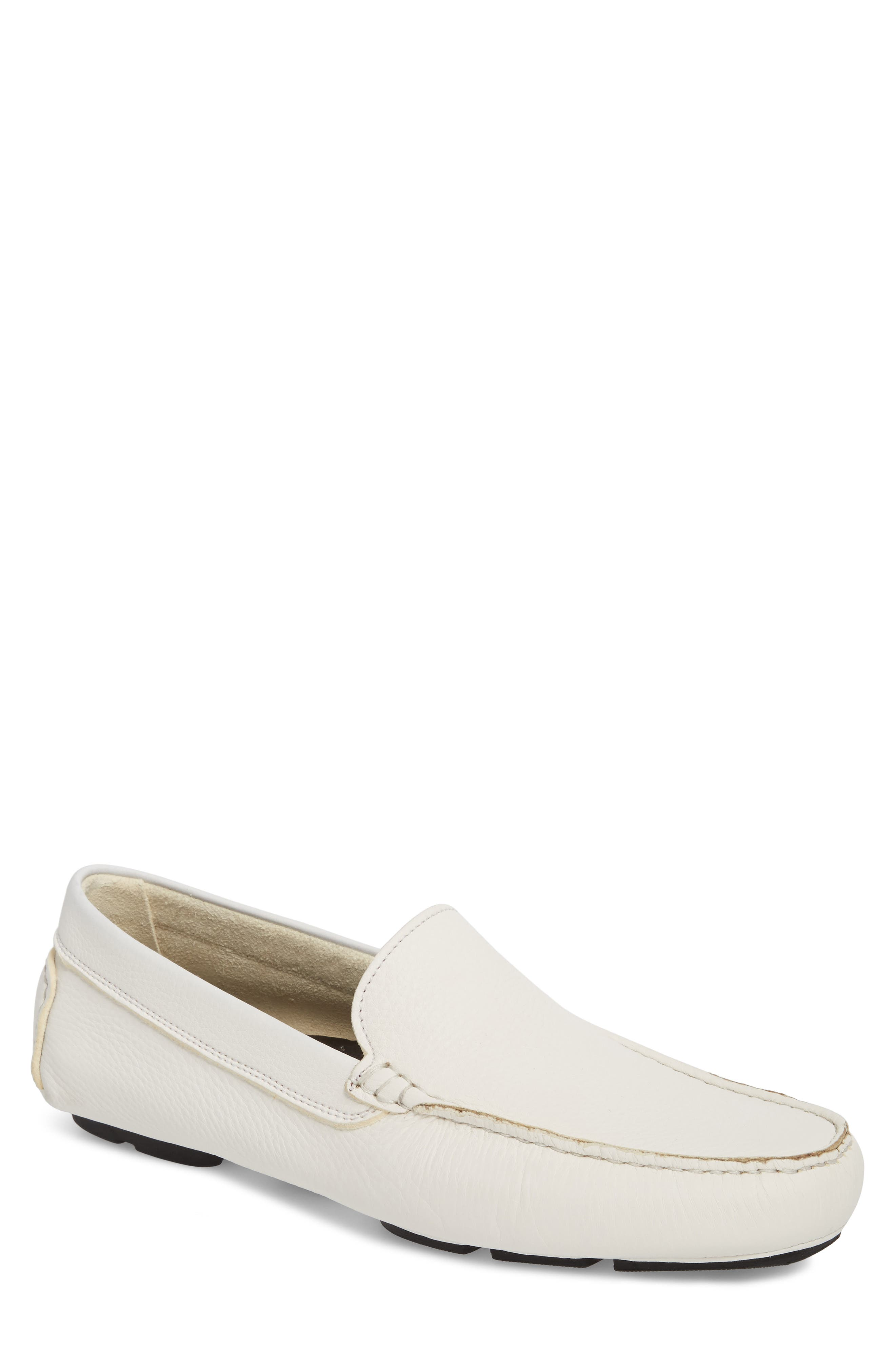 Harlan Driving Loafer,                         Main,                         color, White Leather