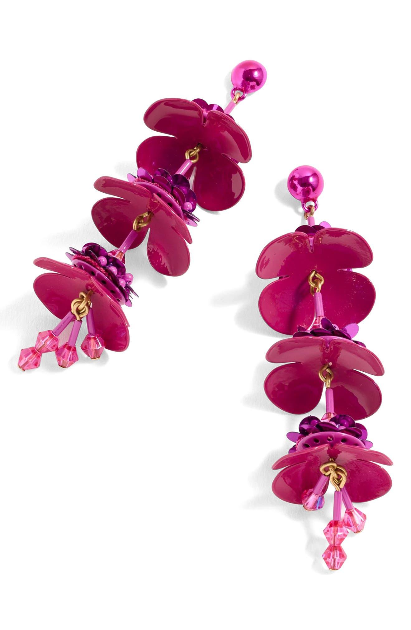 Bead & Blossom Earrings,                             Main thumbnail 1, color,                             Pink