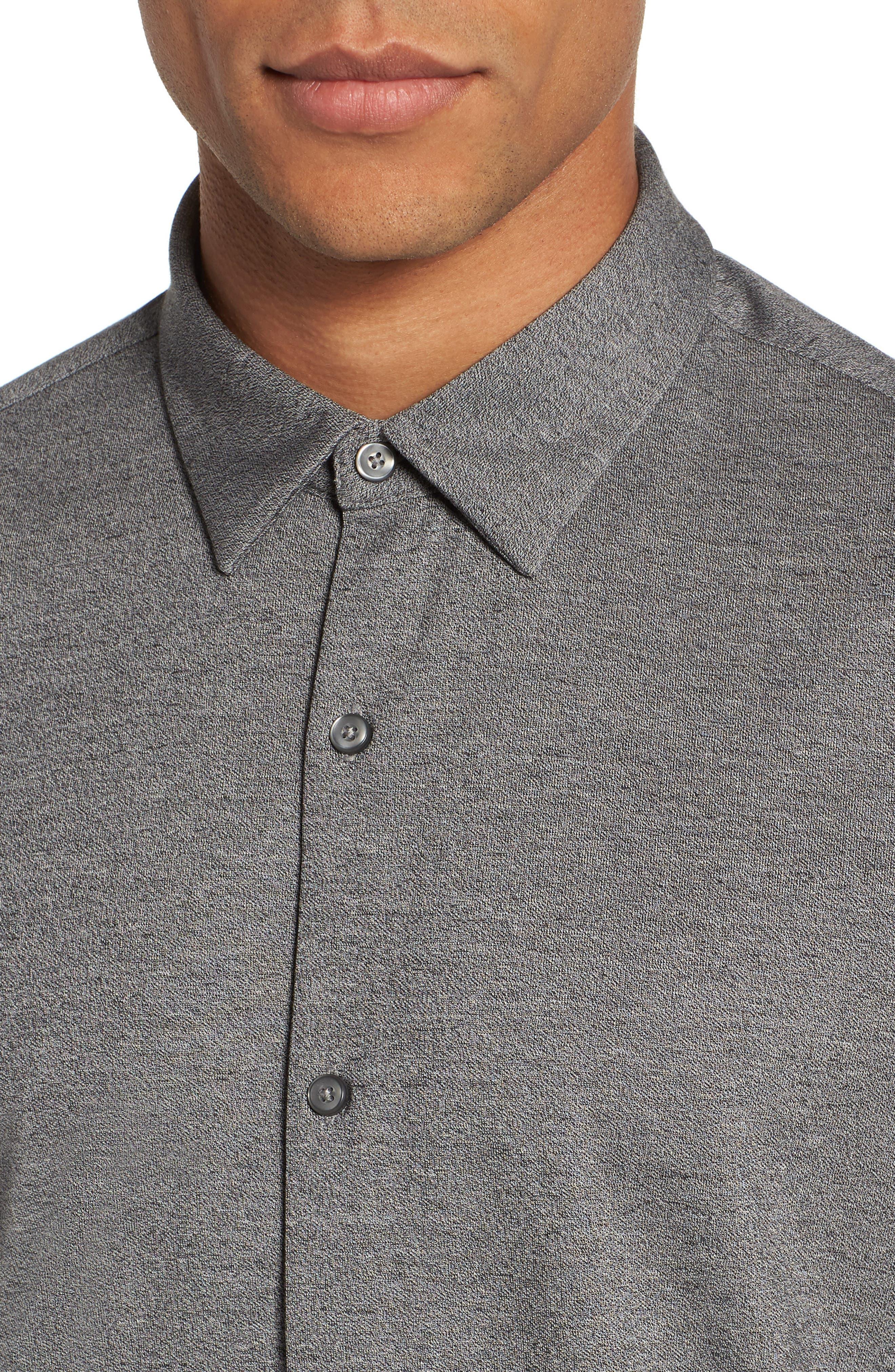 Knit Sport Shirt,                             Alternate thumbnail 4, color,                             Grey Micro Black Jaspe