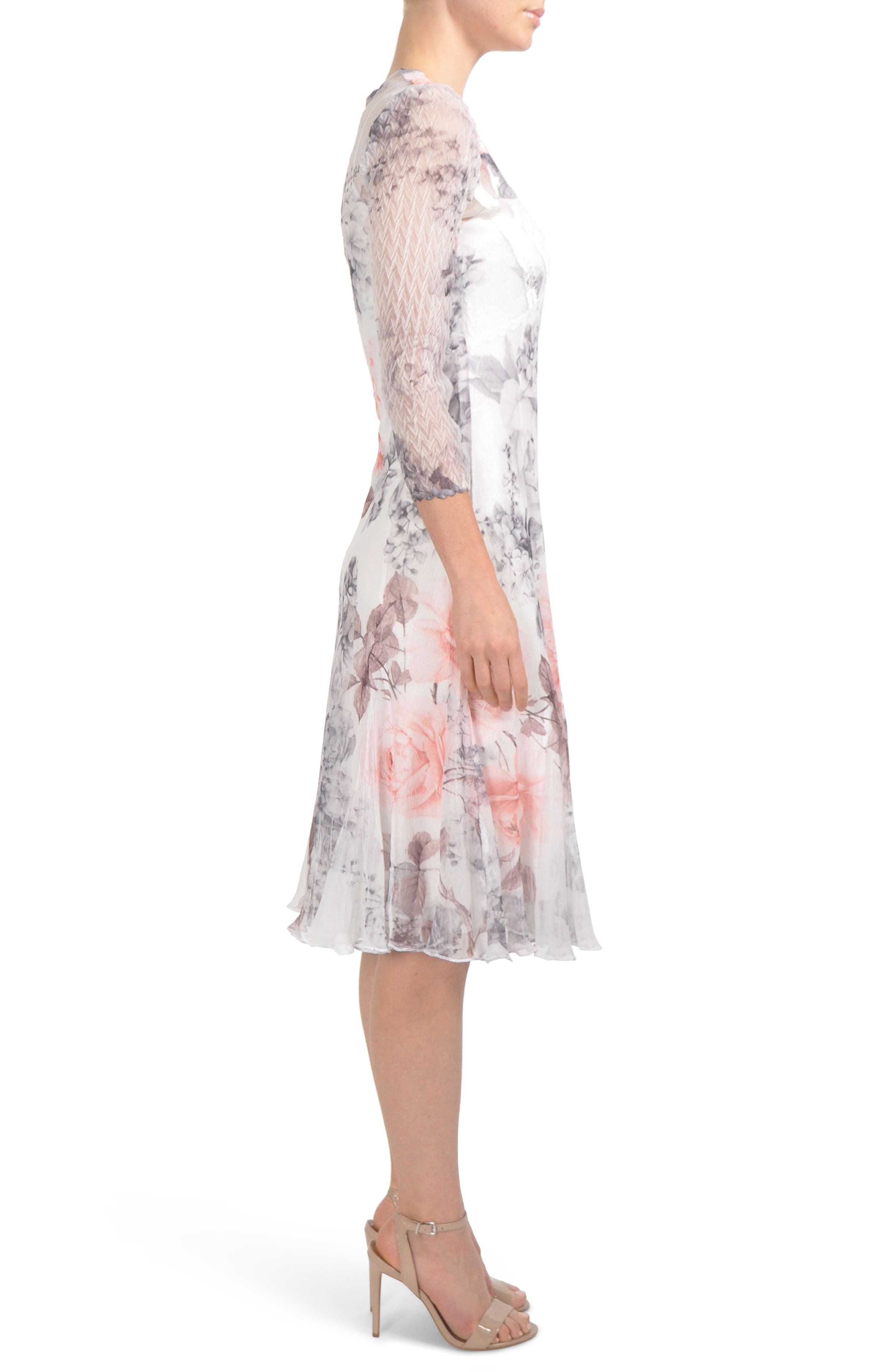 Floral Chiffon Tea Length Dress,                             Alternate thumbnail 3, color,                             Frosted Rose