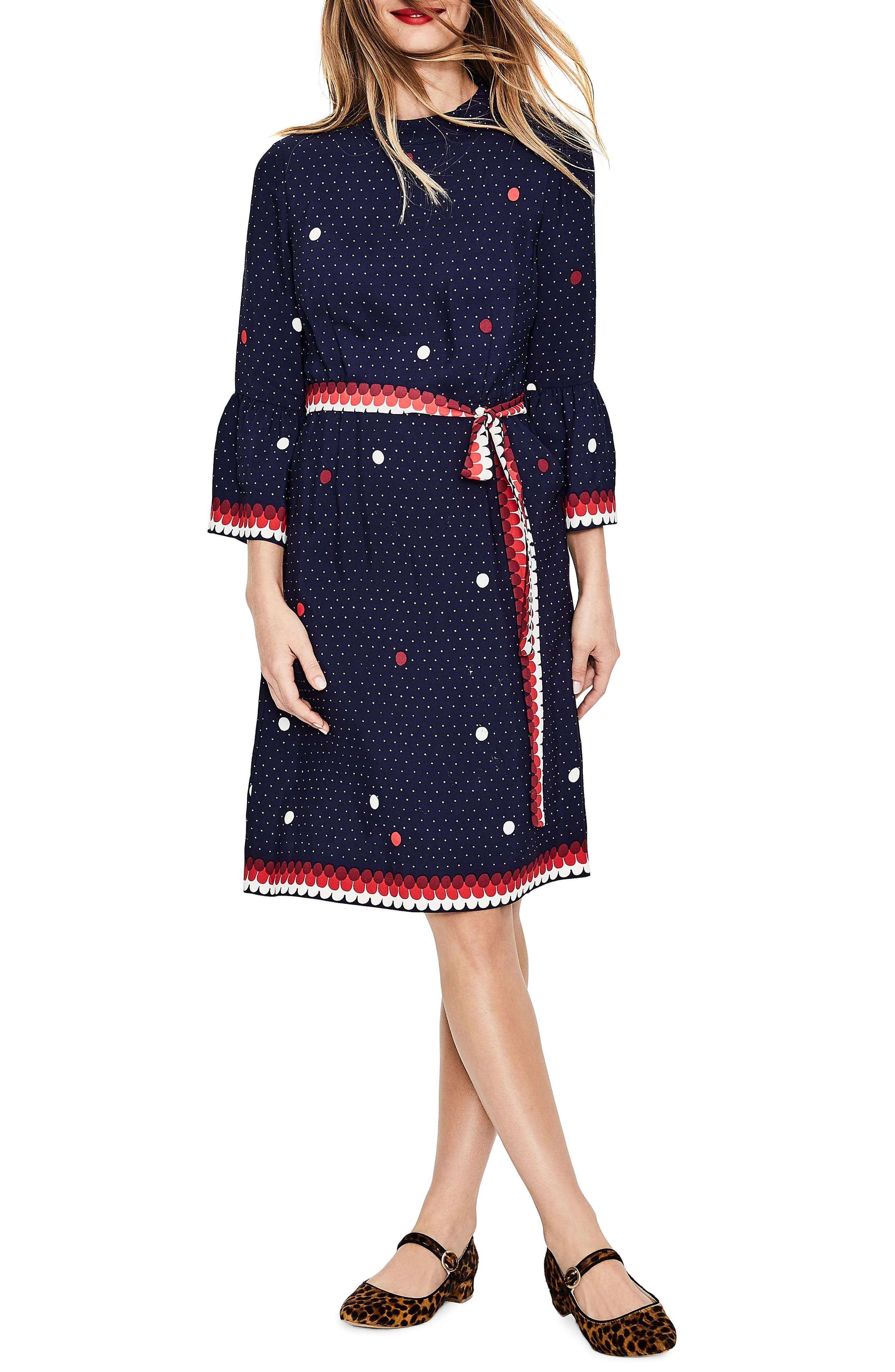 Ruffle Sleeve Polka Dot DRess,                             Main thumbnail 1, color,                             Navy/ Spot Border