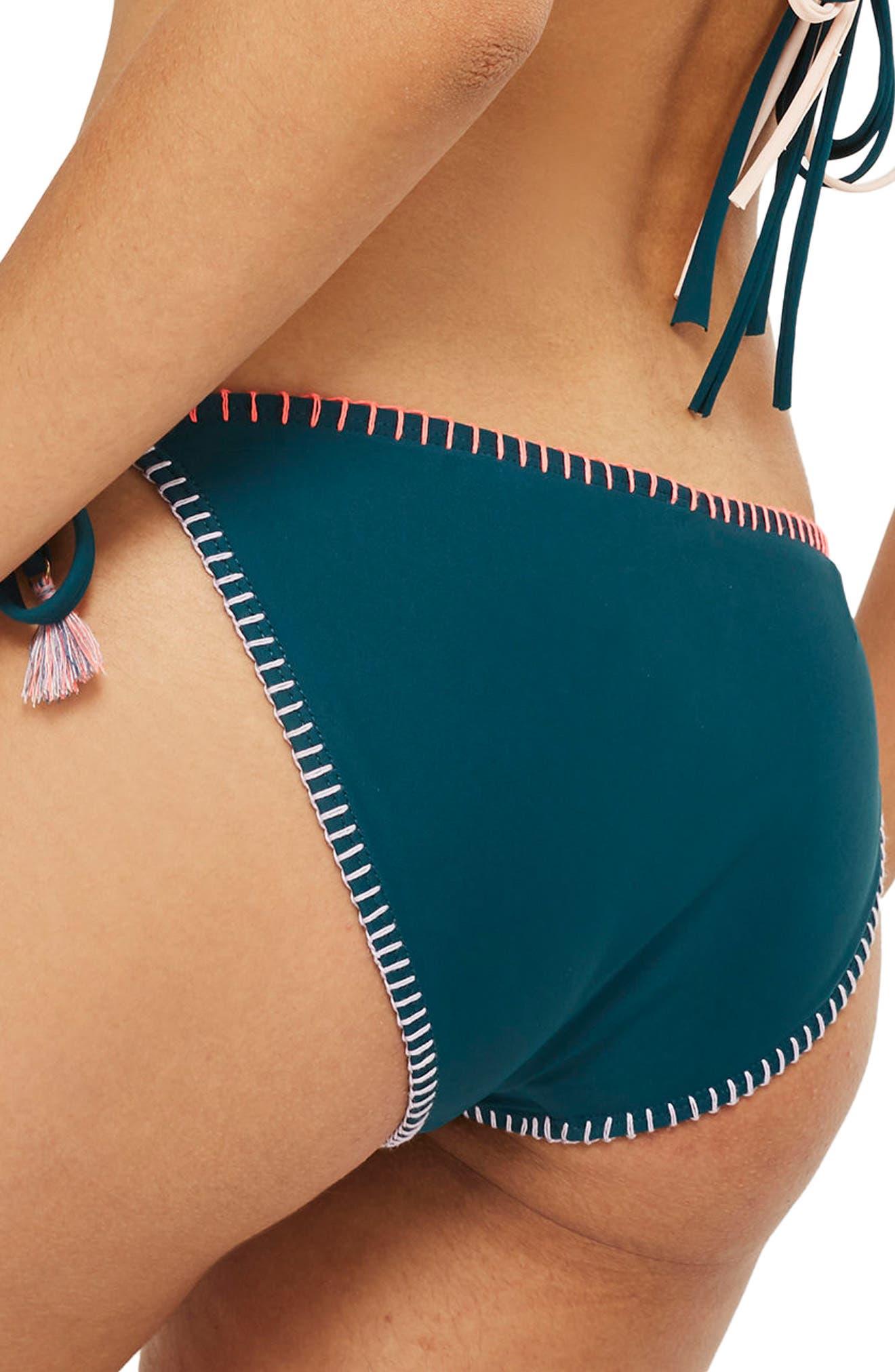 Embroidered Side Tie Bikini Bottoms,                             Alternate thumbnail 2, color,                             Green Multi