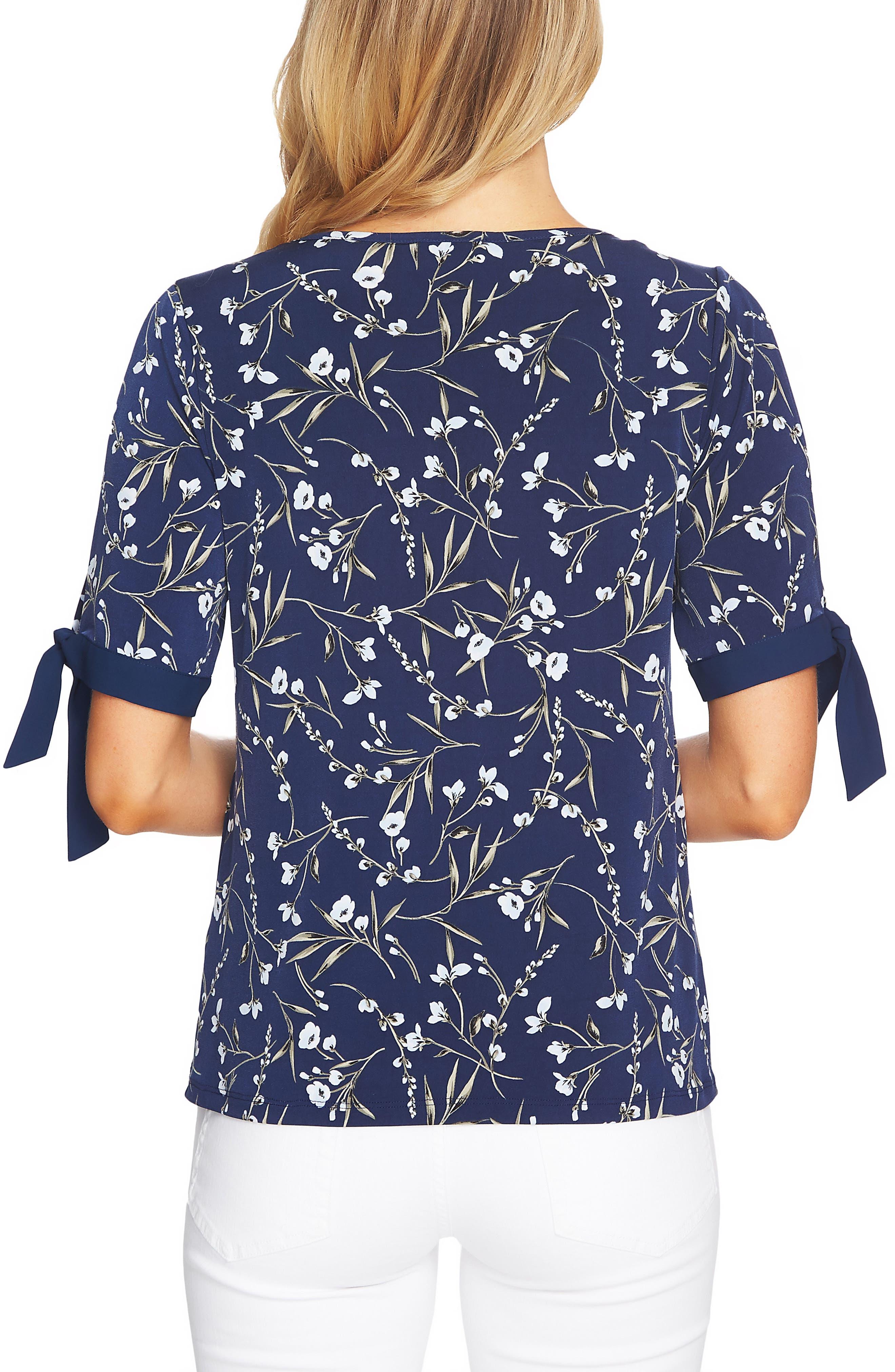 Graceful Flora Tie Sleeve Top,                             Alternate thumbnail 2, color,                             Naval Navy