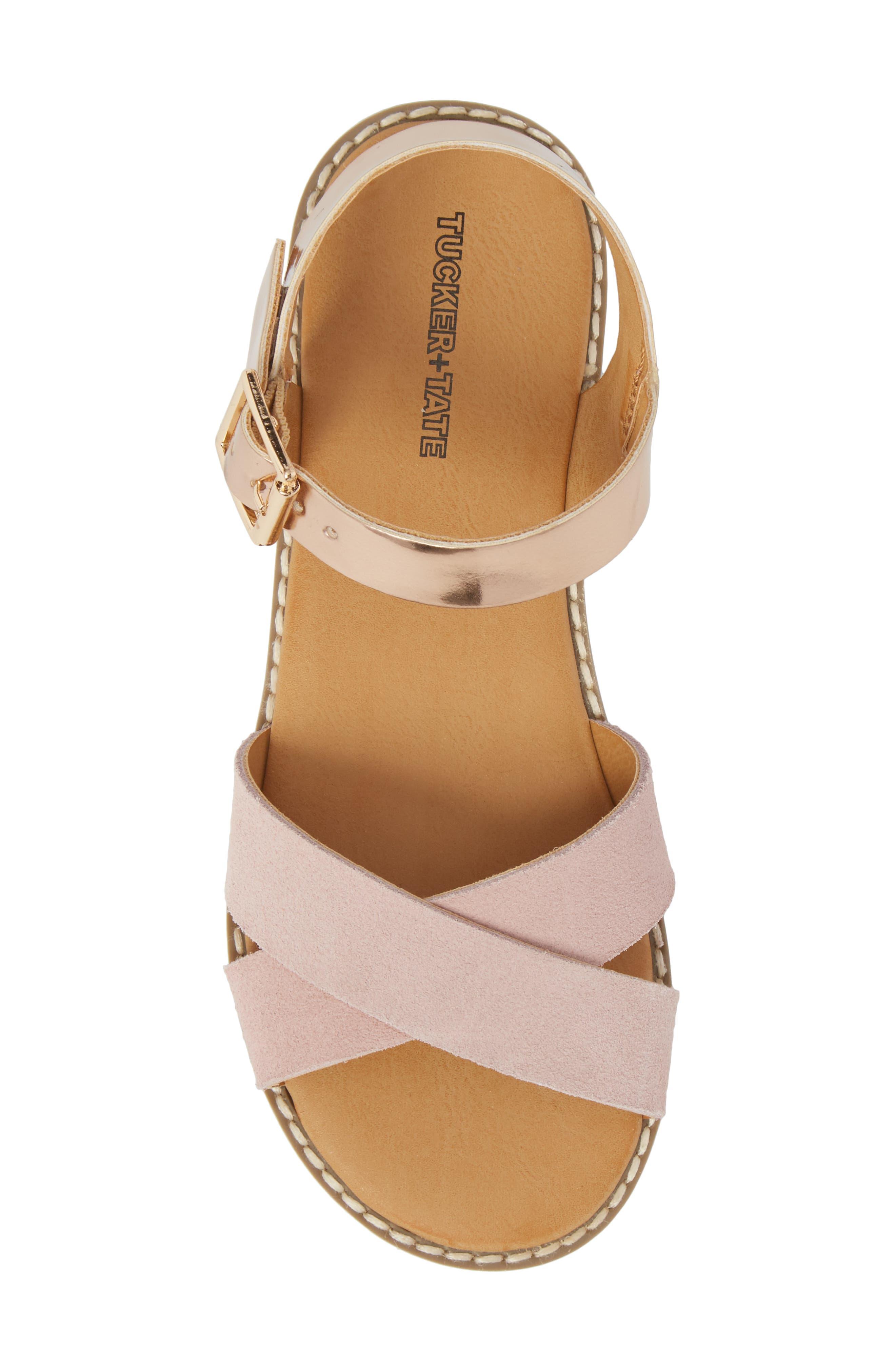 Arya Cross Strap Sandal,                             Alternate thumbnail 6, color,                             Rose Gold Faux Lea