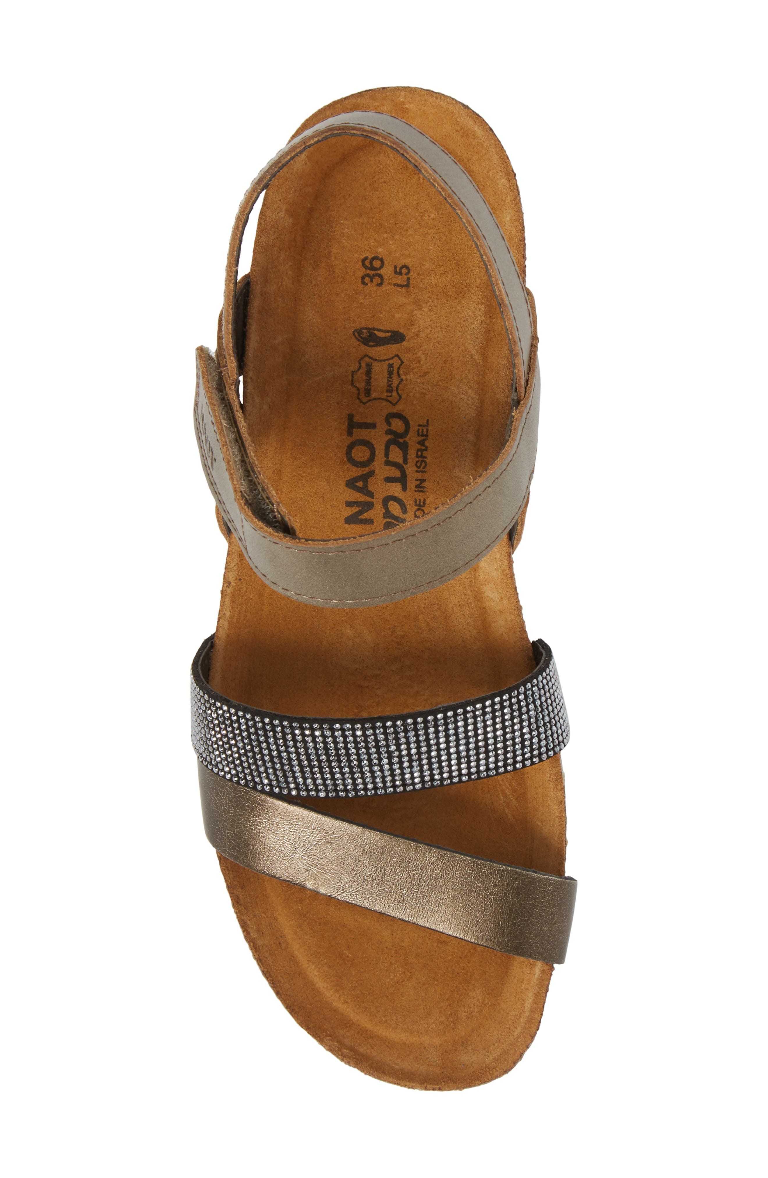 'Krista' Sandal,                             Alternate thumbnail 5, color,                             Pewter Leather