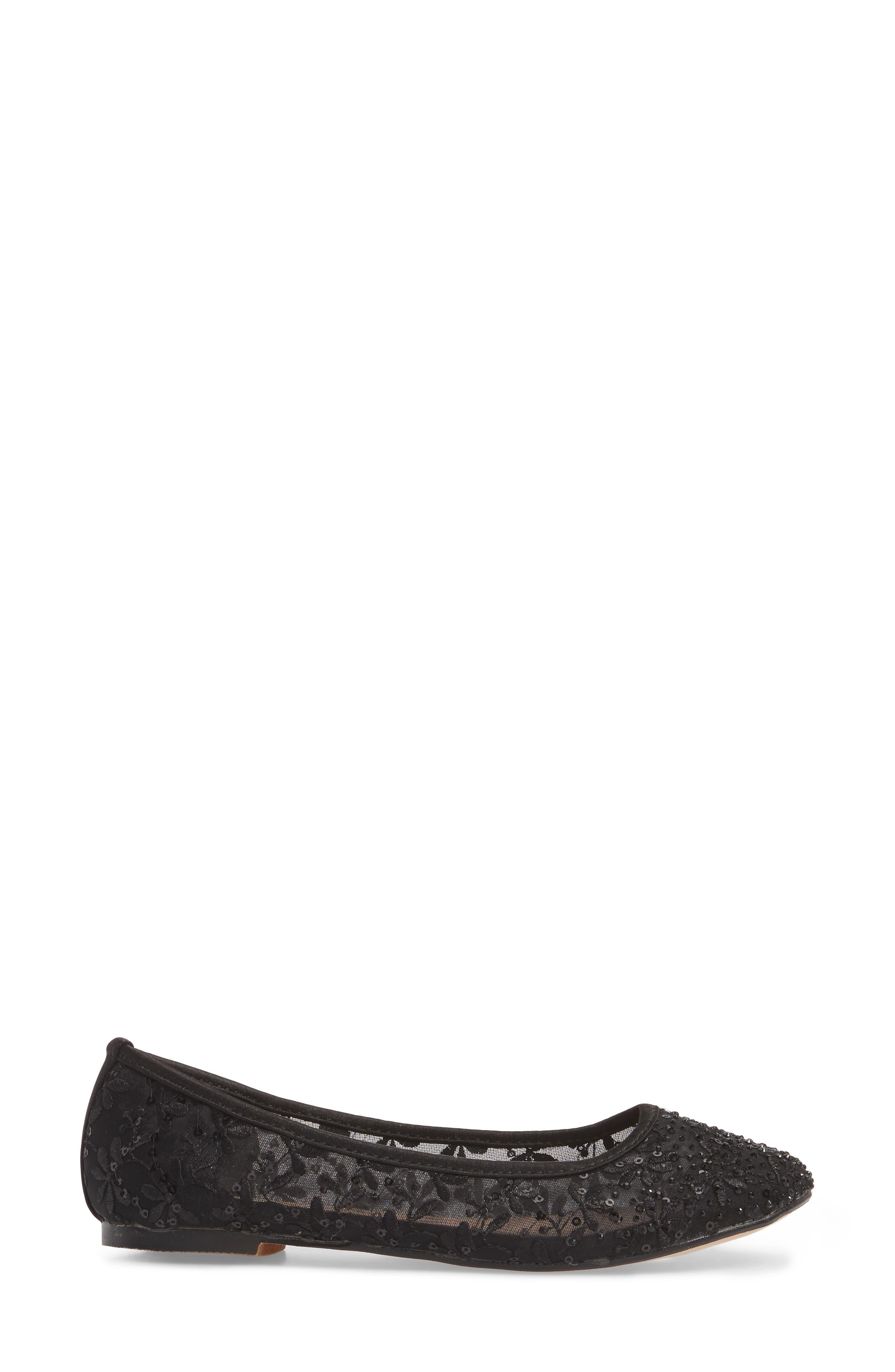 Betsy Embellished Flat,                             Alternate thumbnail 3, color,                             Black Fabric