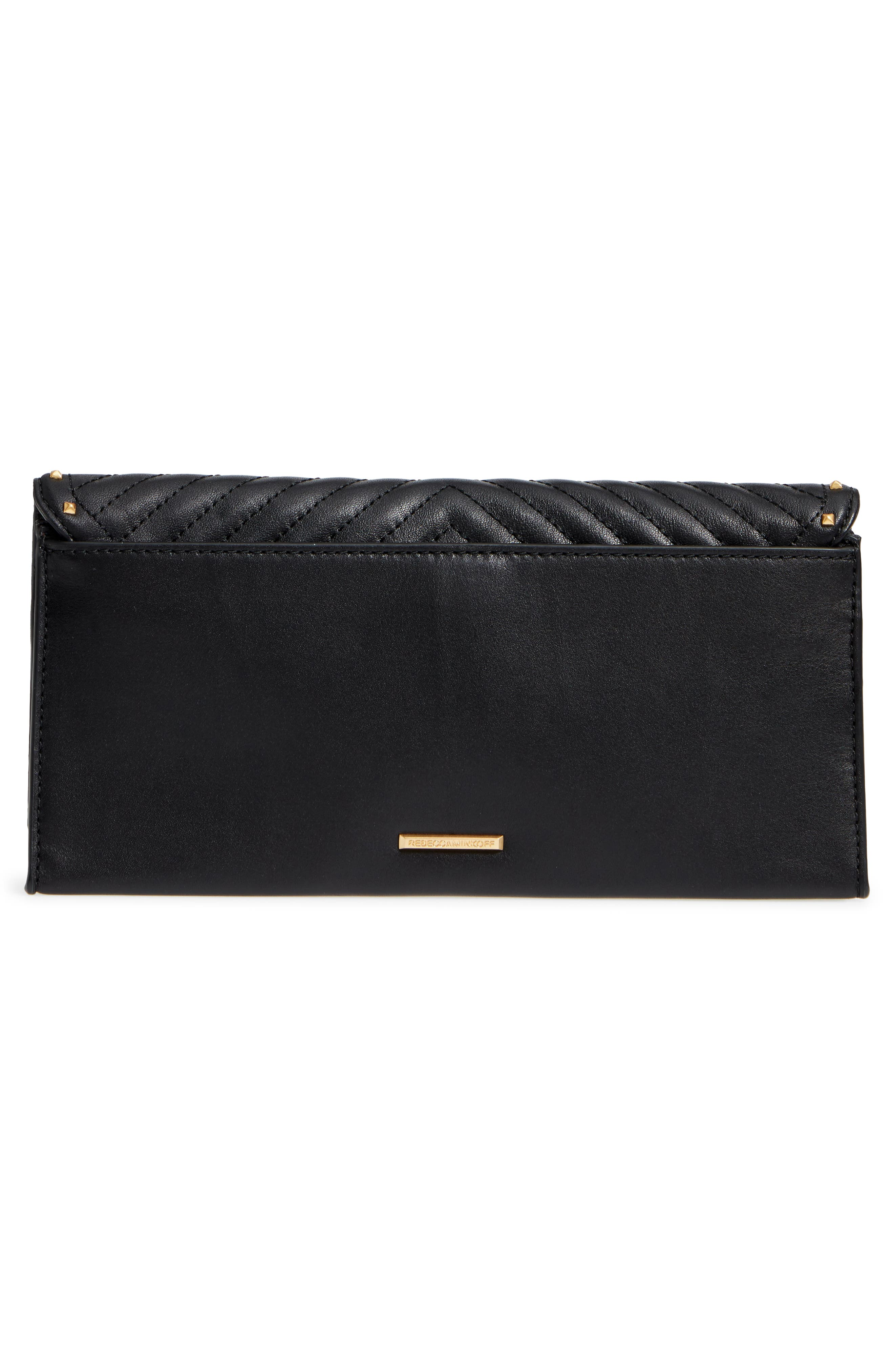 Becky Quilted Leather Clutch,                             Alternate thumbnail 3, color,                             Black