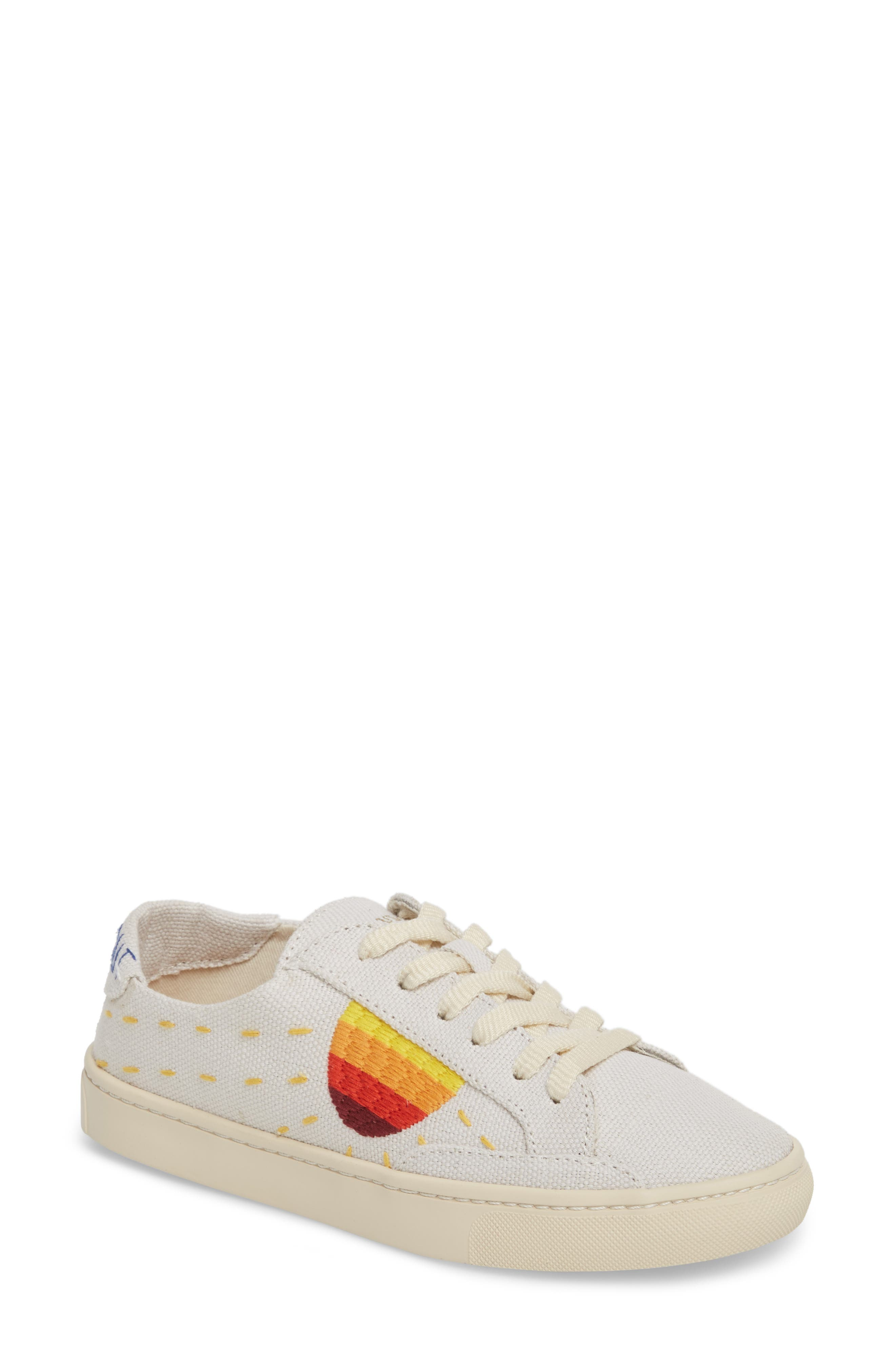 Embroidered Low Top Sneaker,                             Main thumbnail 1, color,                             White Canvas