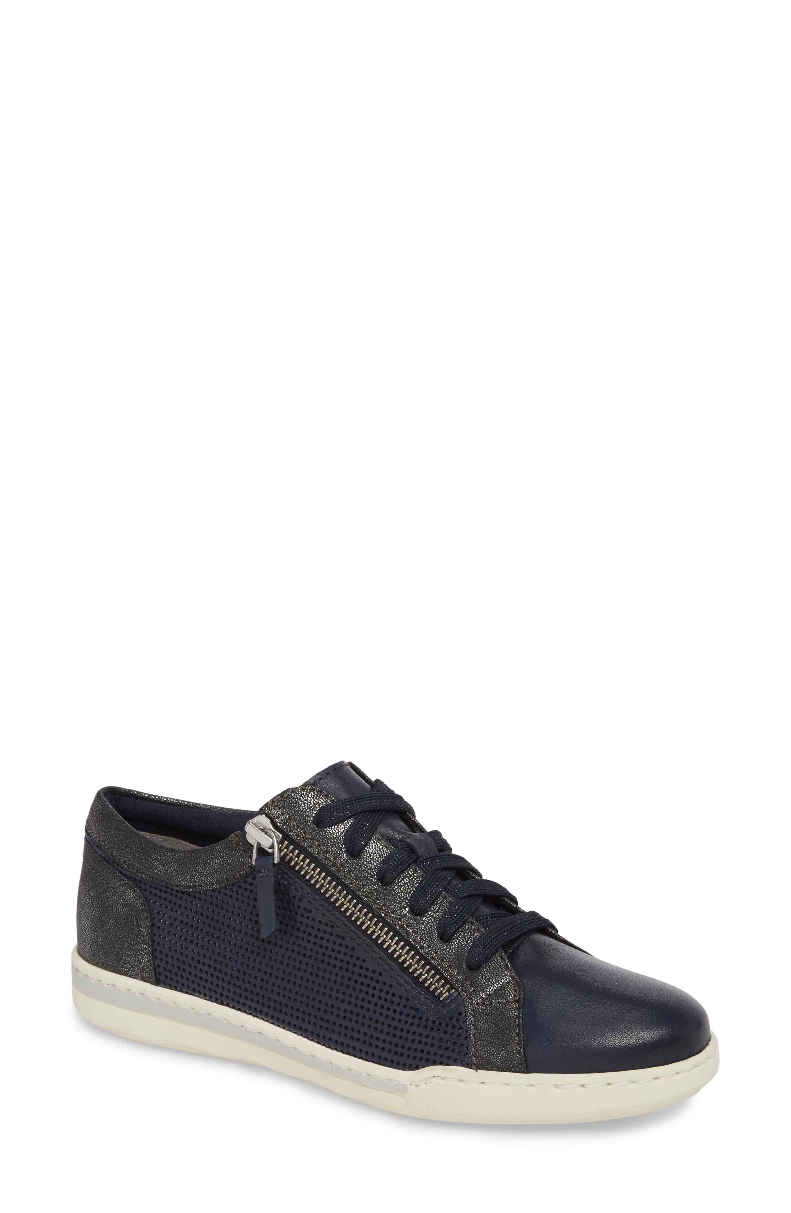 Freya Sneaker,                             Main thumbnail 1, color,                             Navy Leather