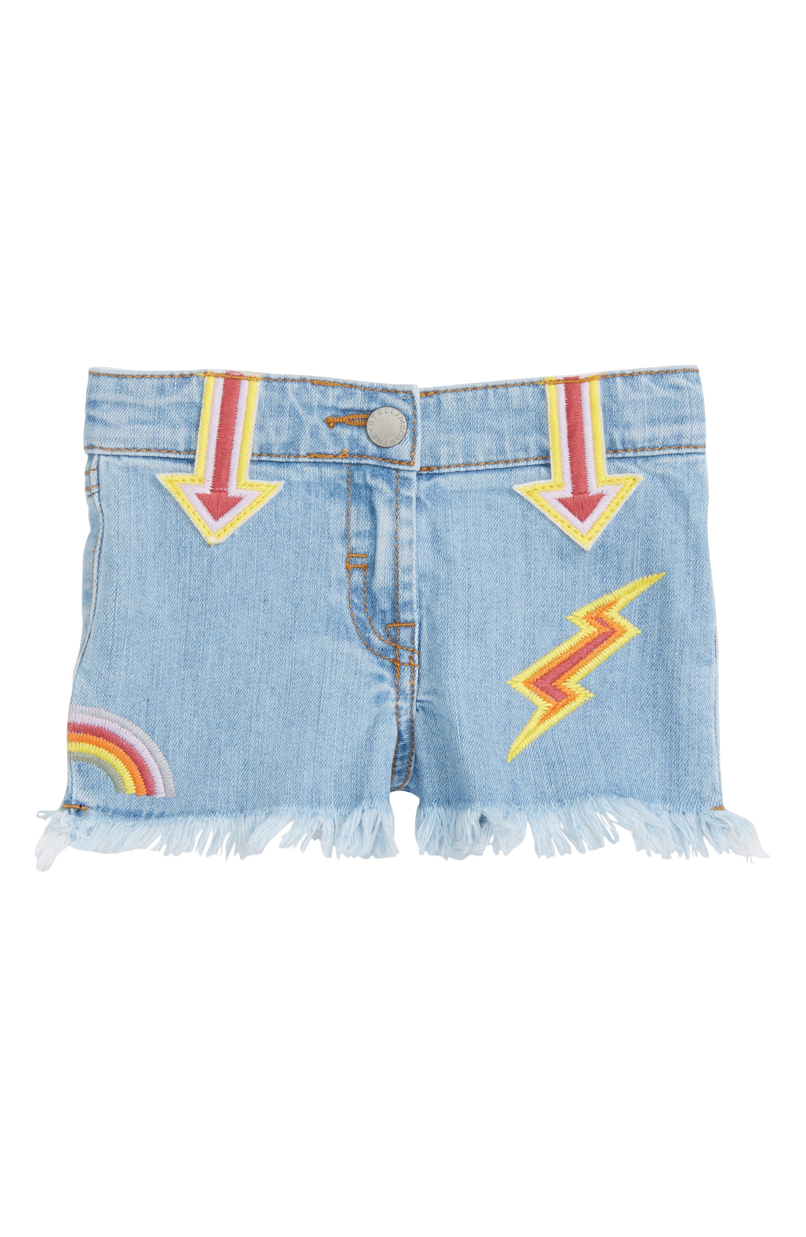 Alternate Image 1 Selected - Stella McCartney Kids Marlin Patched Cutoff Denim Shorts (Toddler Girls, Little Girls & Big Girls)
