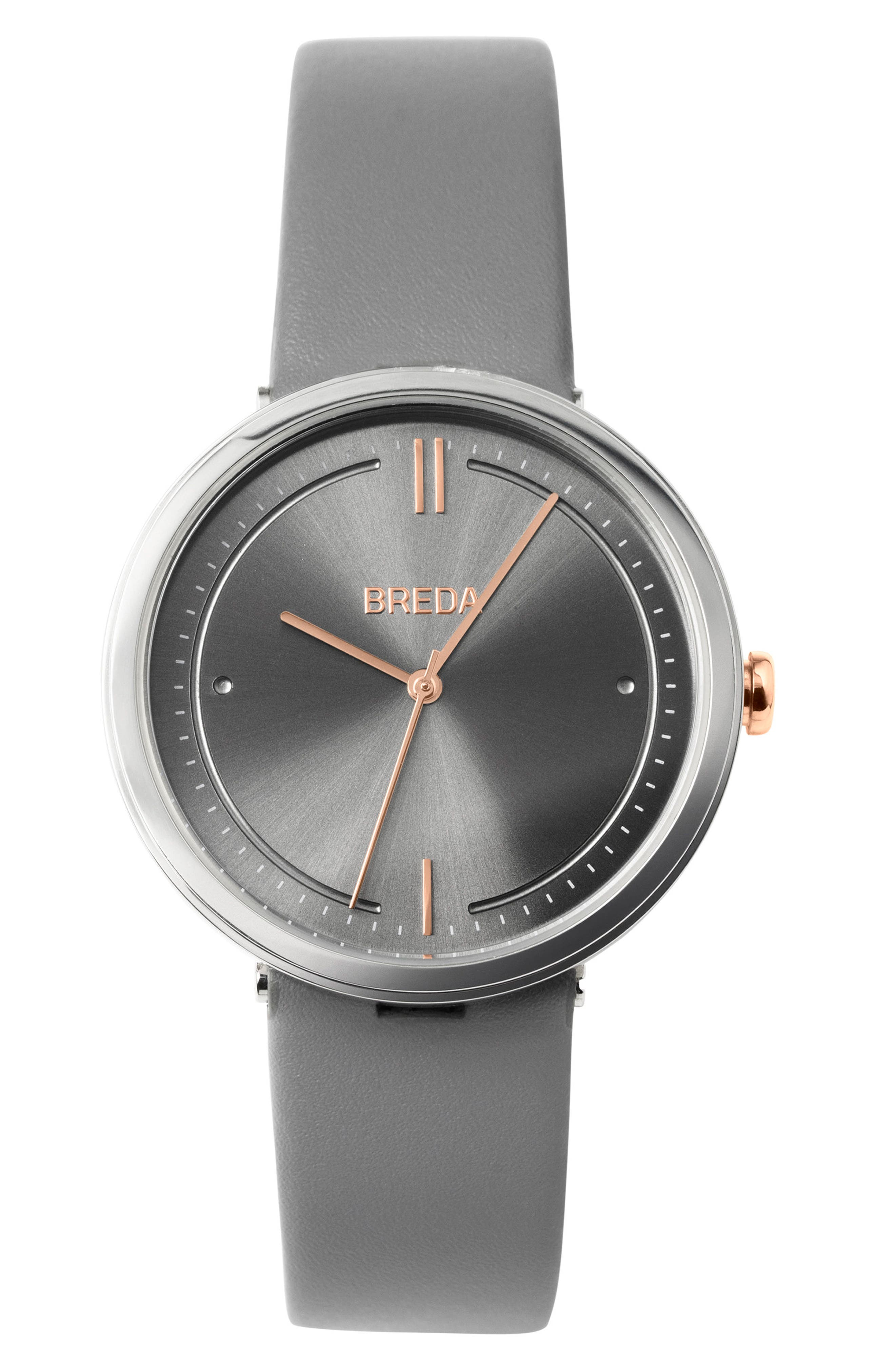 Agnes Leather Strap Watch, 34mm,                             Main thumbnail 1, color,                             Silver/ Grey