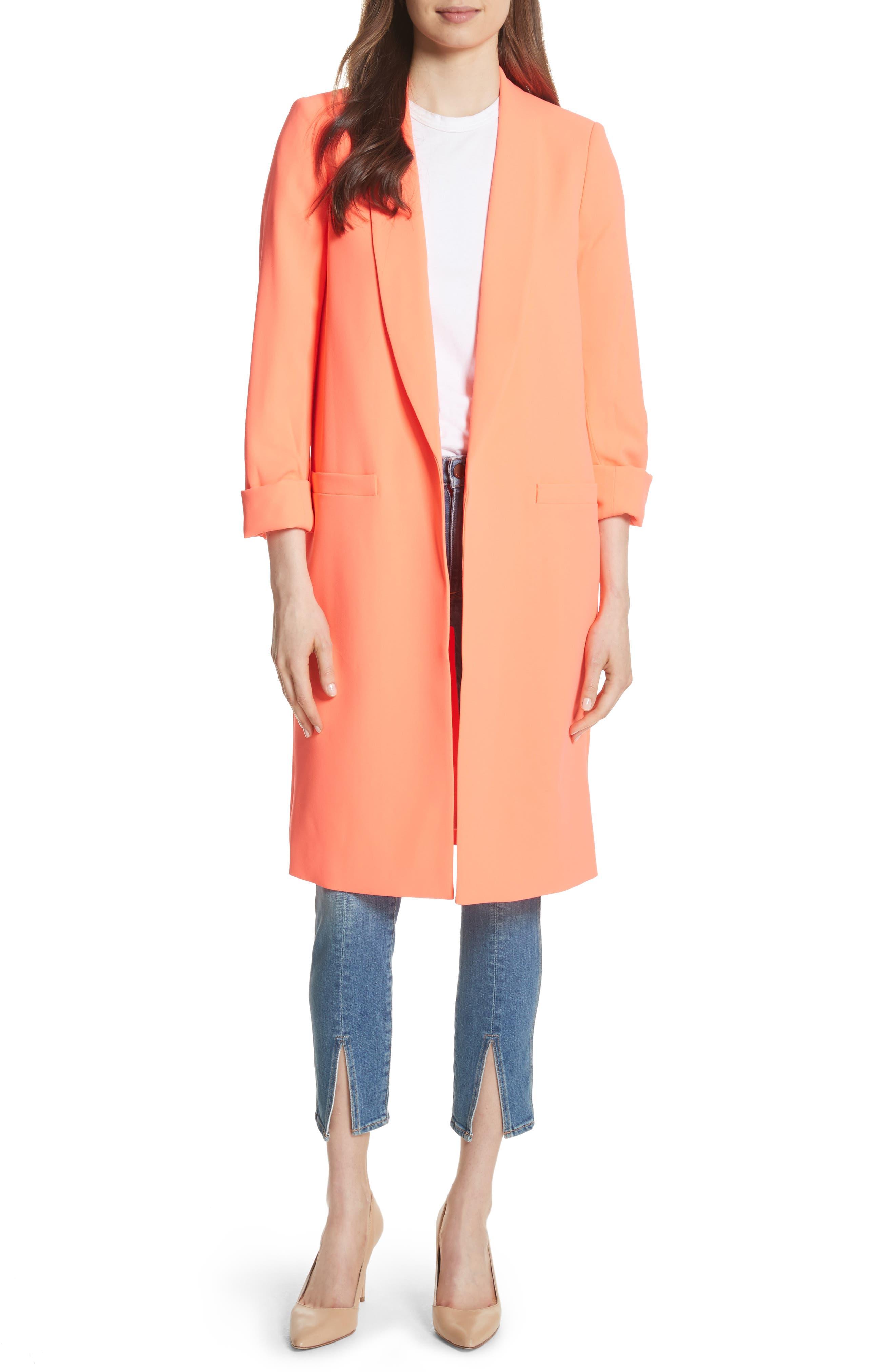 Alice + Olivia Kylie Shawl Collar Long Jacket
