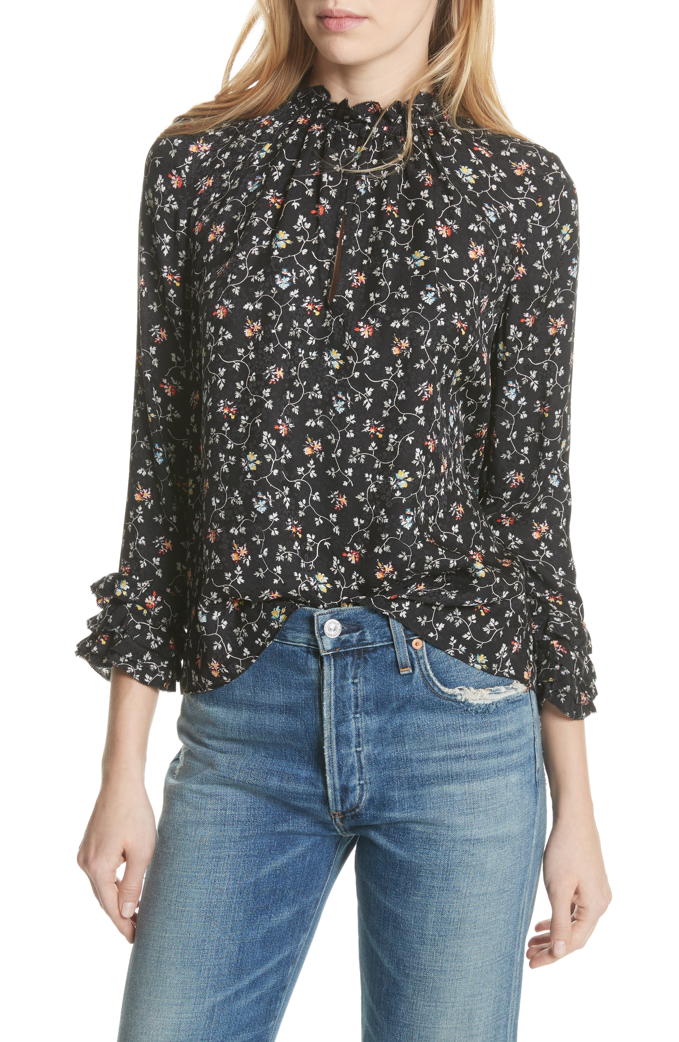 Rebecca Taylor Floral Print Ruffle Silk Top
